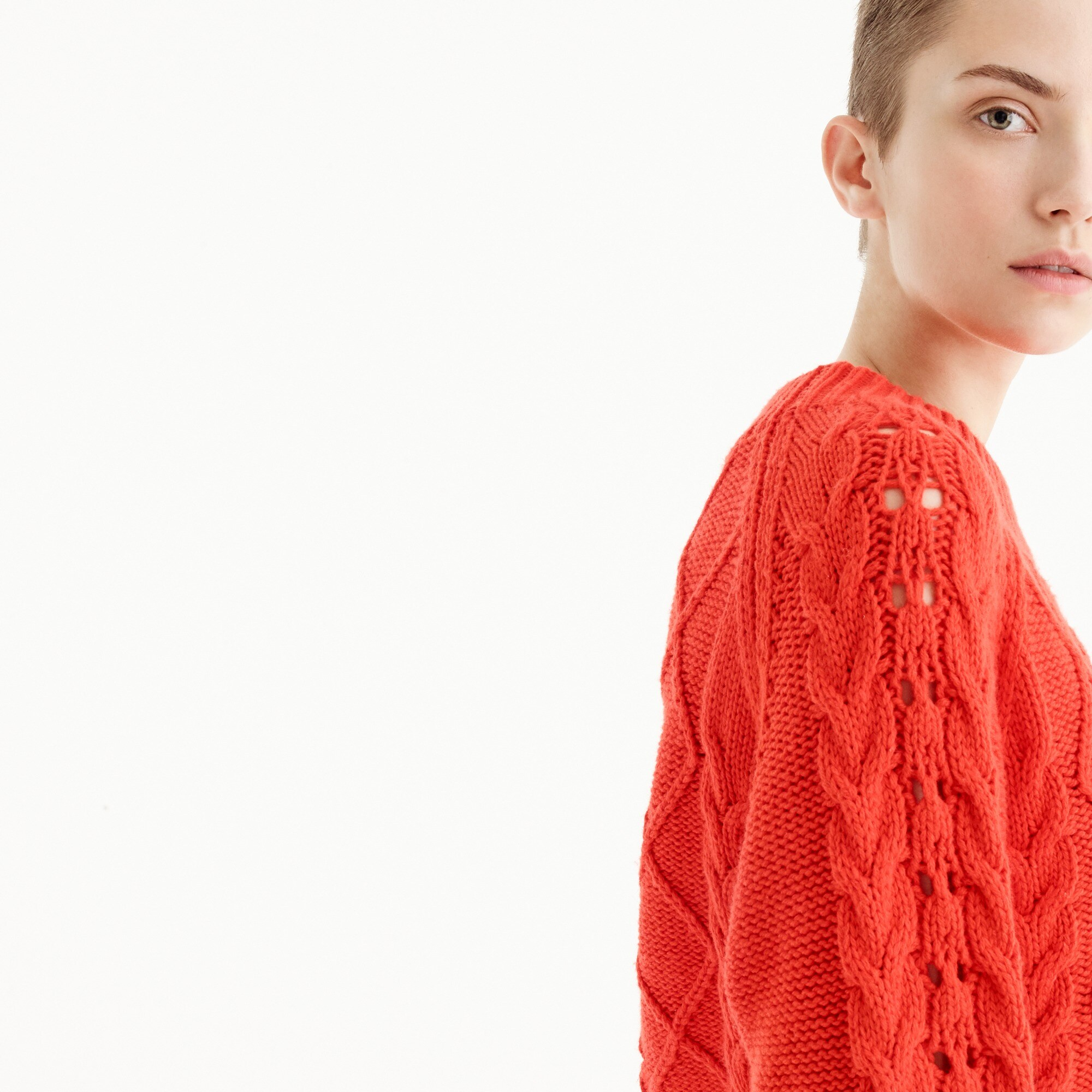 Mockneck cable-knit sweater