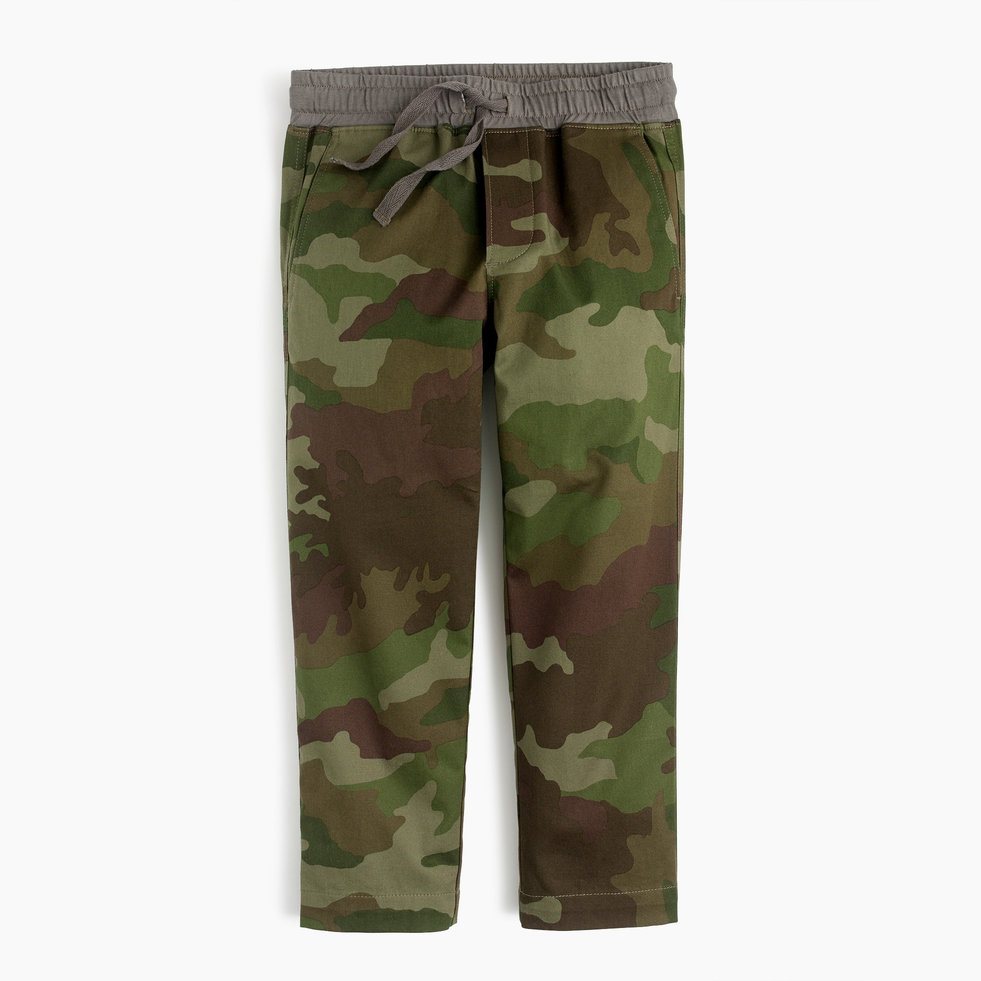 Boys' stretch-cotton pull-on pant in camo boy pants c