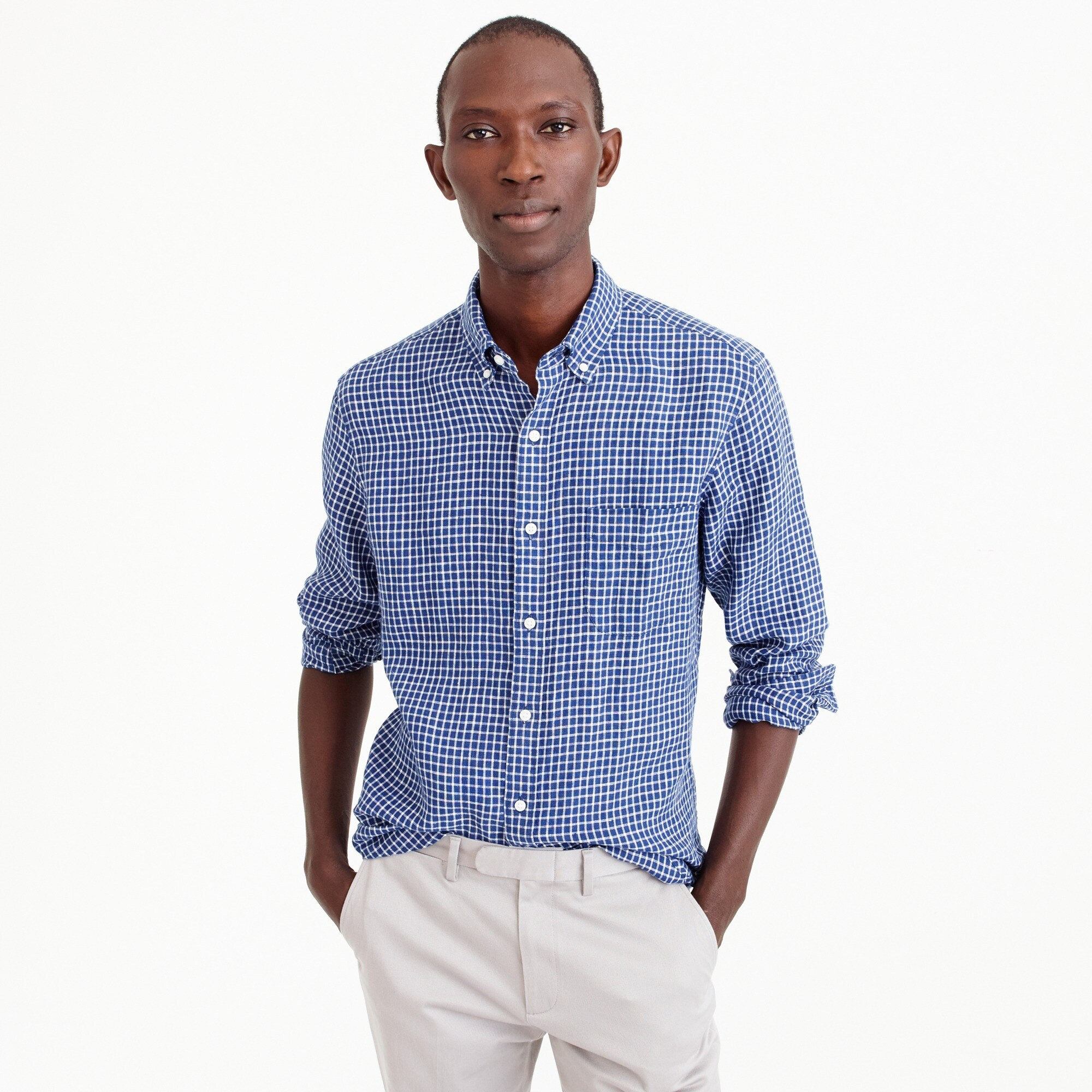 men's slim irish linen shirt in check - men's woven shirts