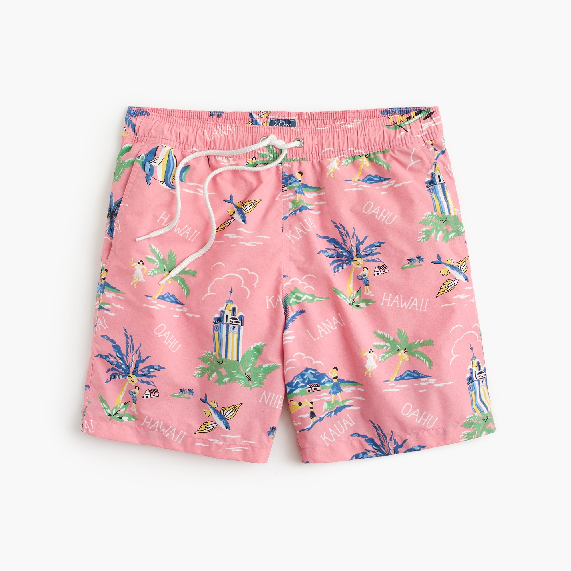 "mens 6"" swim trunk in Hawaii print"