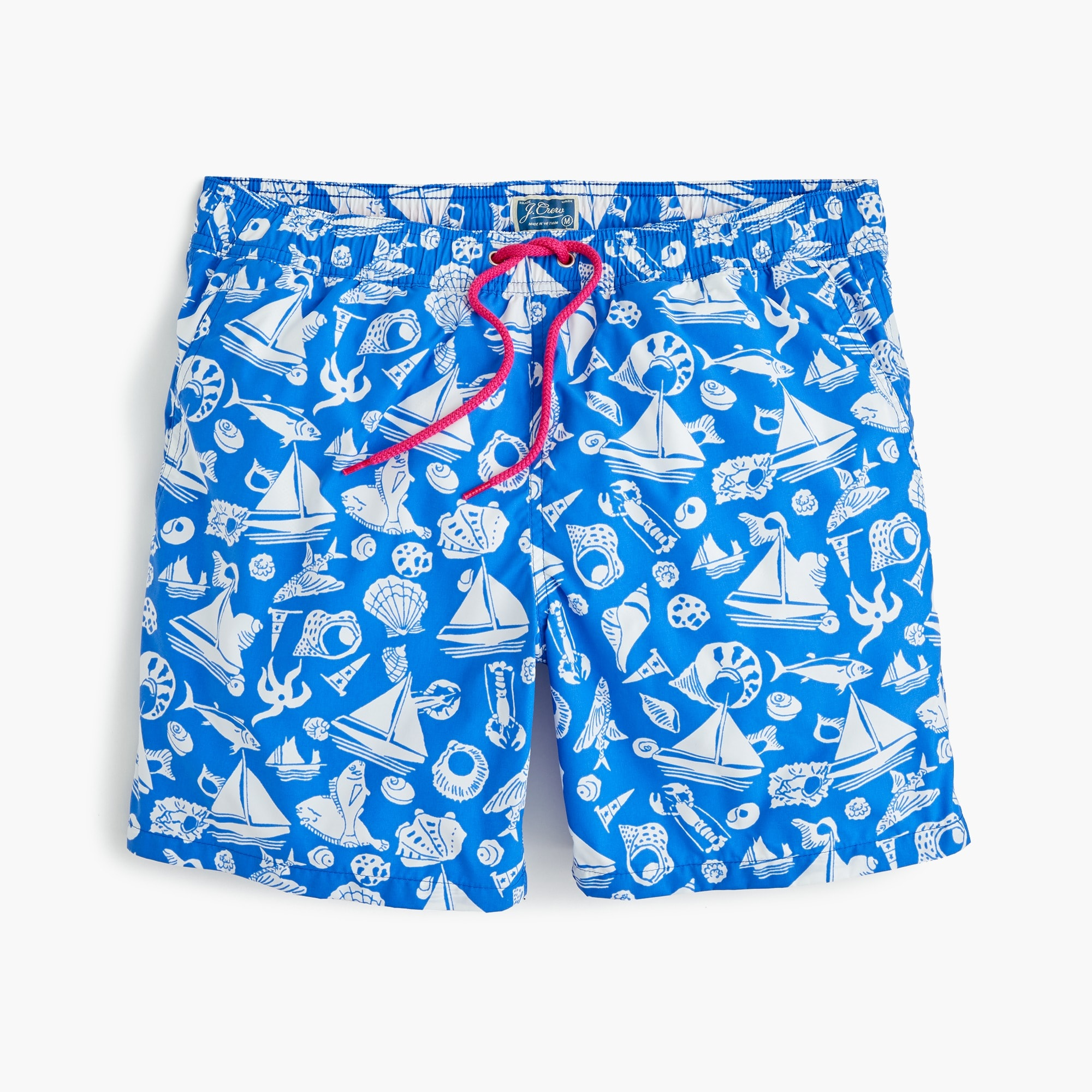 "mens 6"" swim trunk in seaside print"