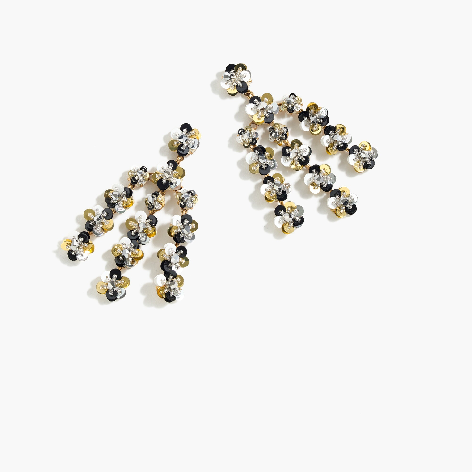 Sequin-daisy chandelier earrings