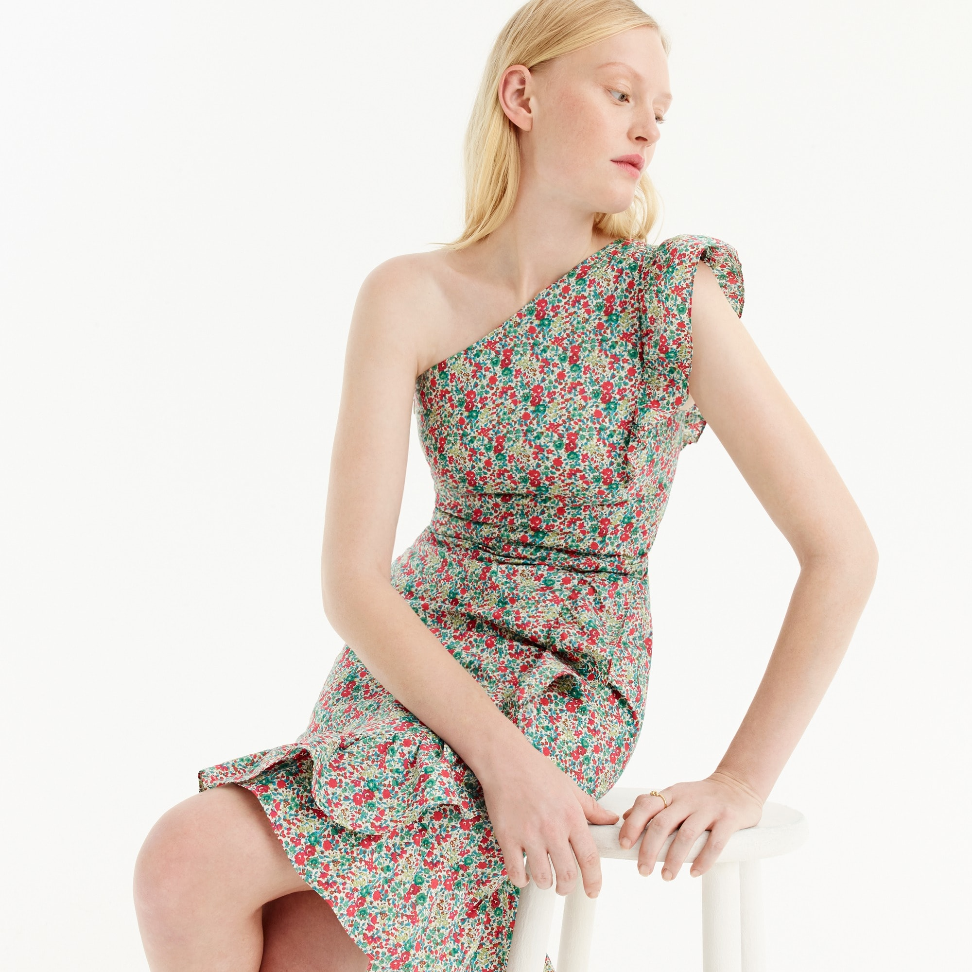 Petite asymmetrical ruffle dress in Liberty® Emma & Georgina floral