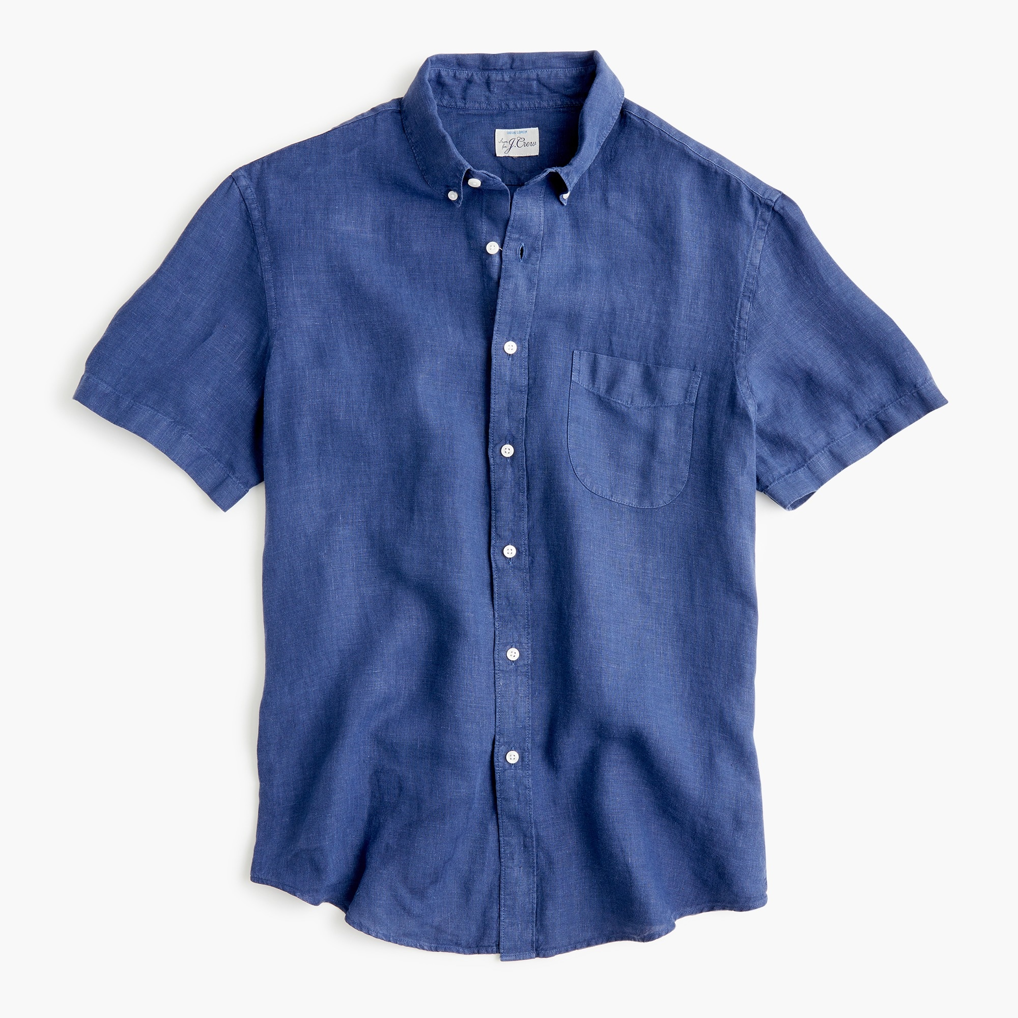 mens Short-sleeve garment-dyed shirt in Irish linen