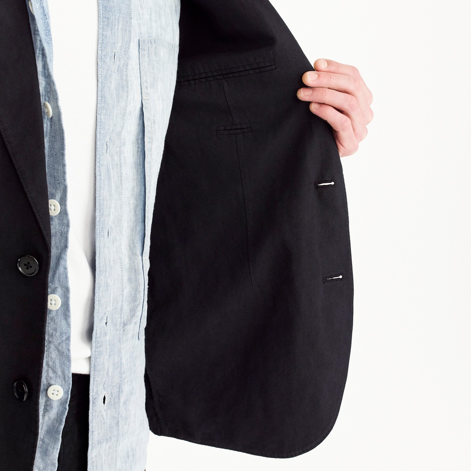 Image 3 for Unstructured Slim-fit Ludlow blazer in garment-dyed cotton-linen