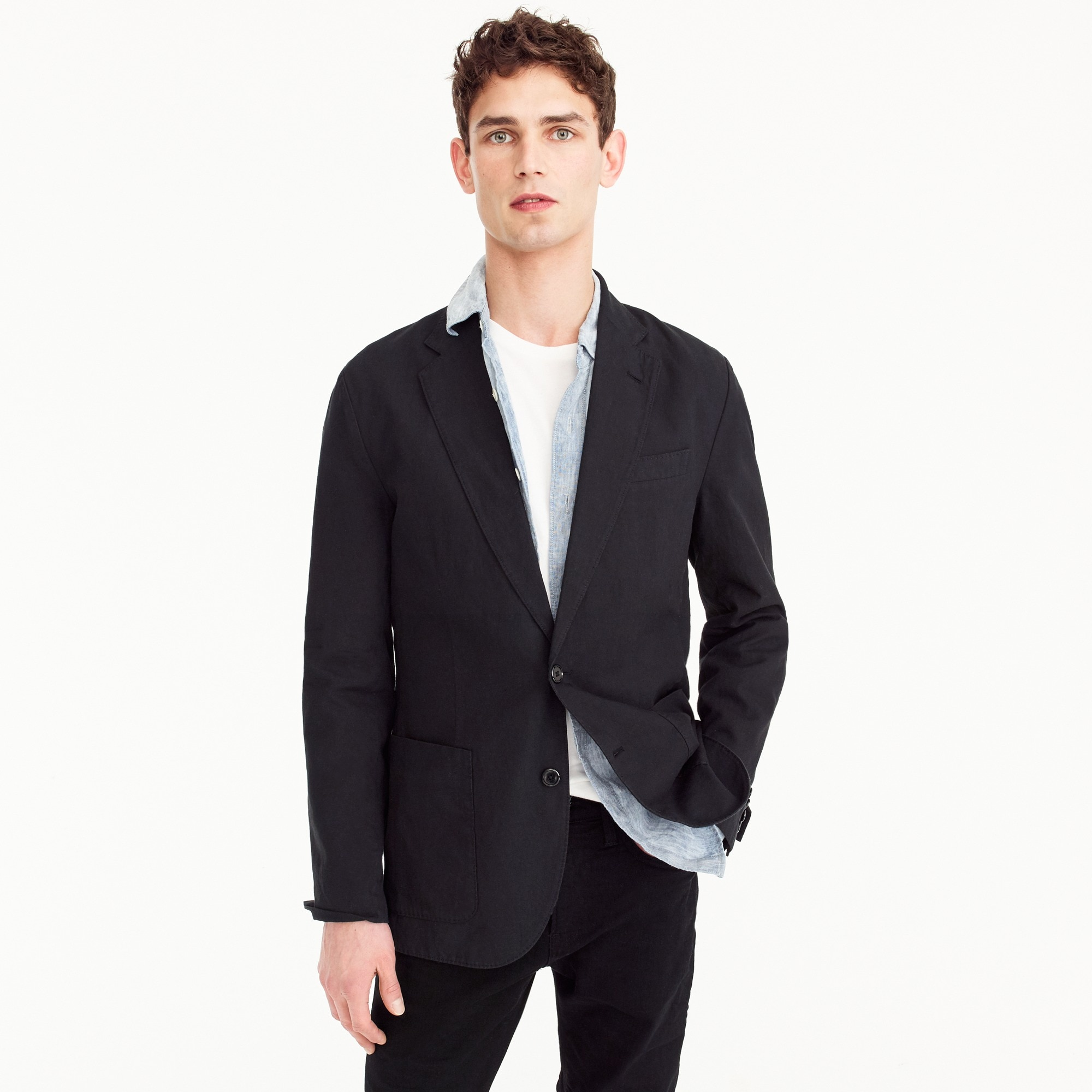 Image 1 for Unstructured Slim-fit Ludlow blazer in garment-dyed cotton-linen