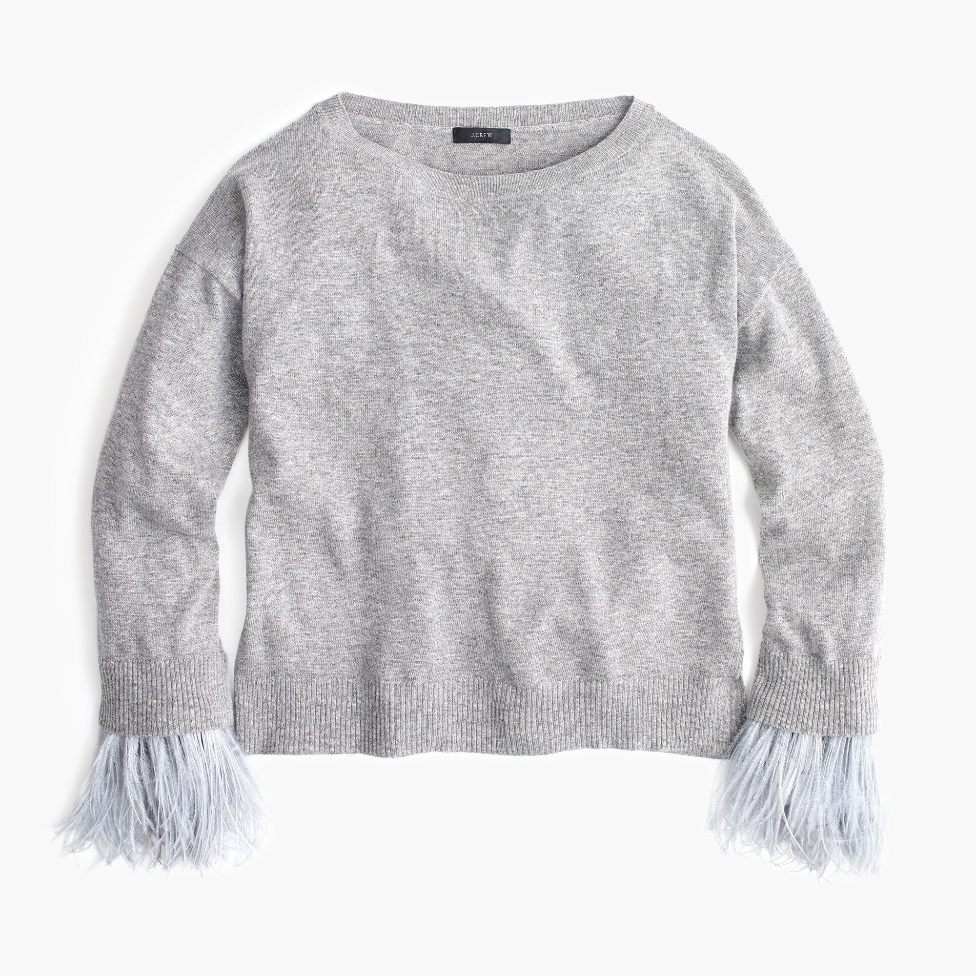 Image 2 for Crewneck sweater with feather sleeves