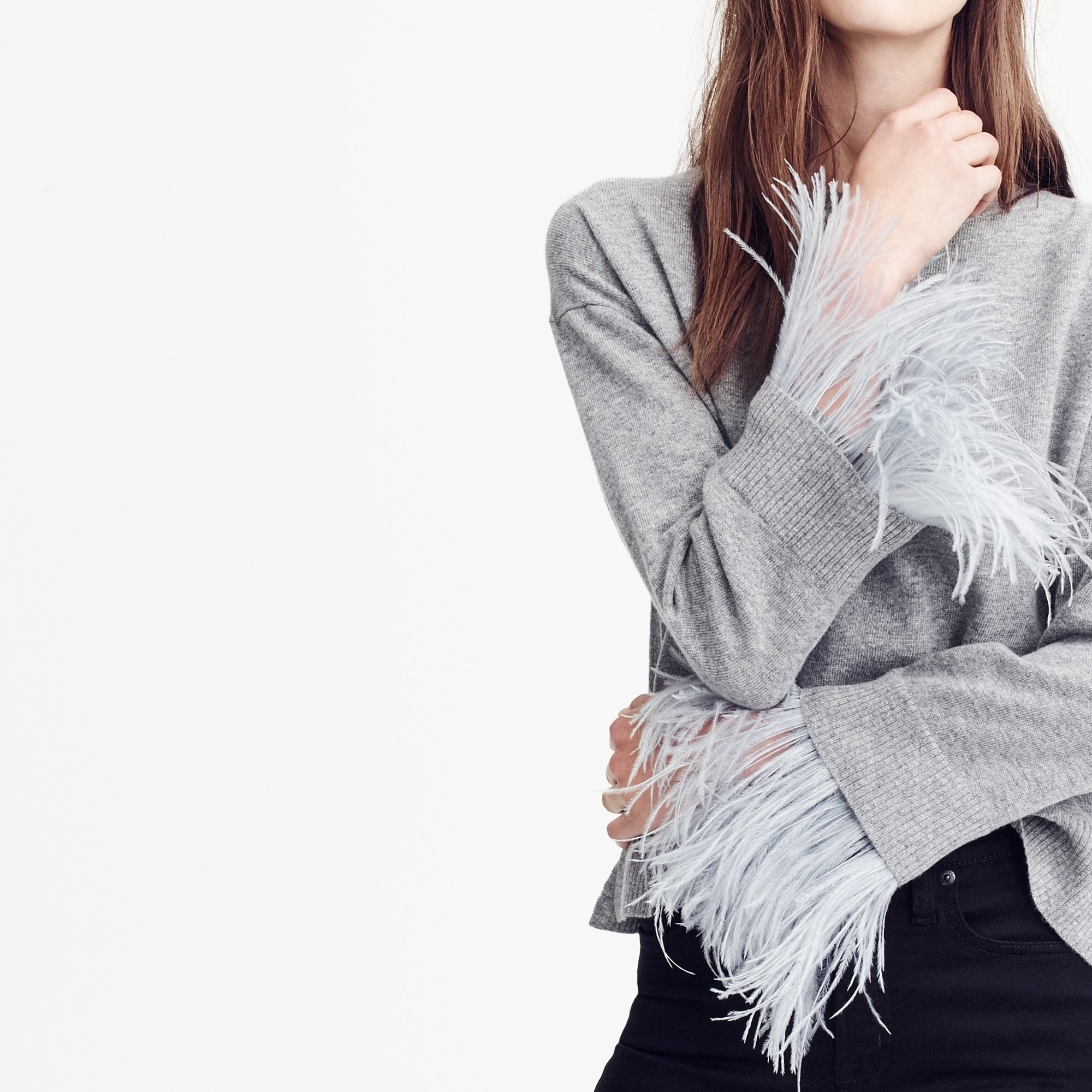 Crewneck sweater with feather sleeves