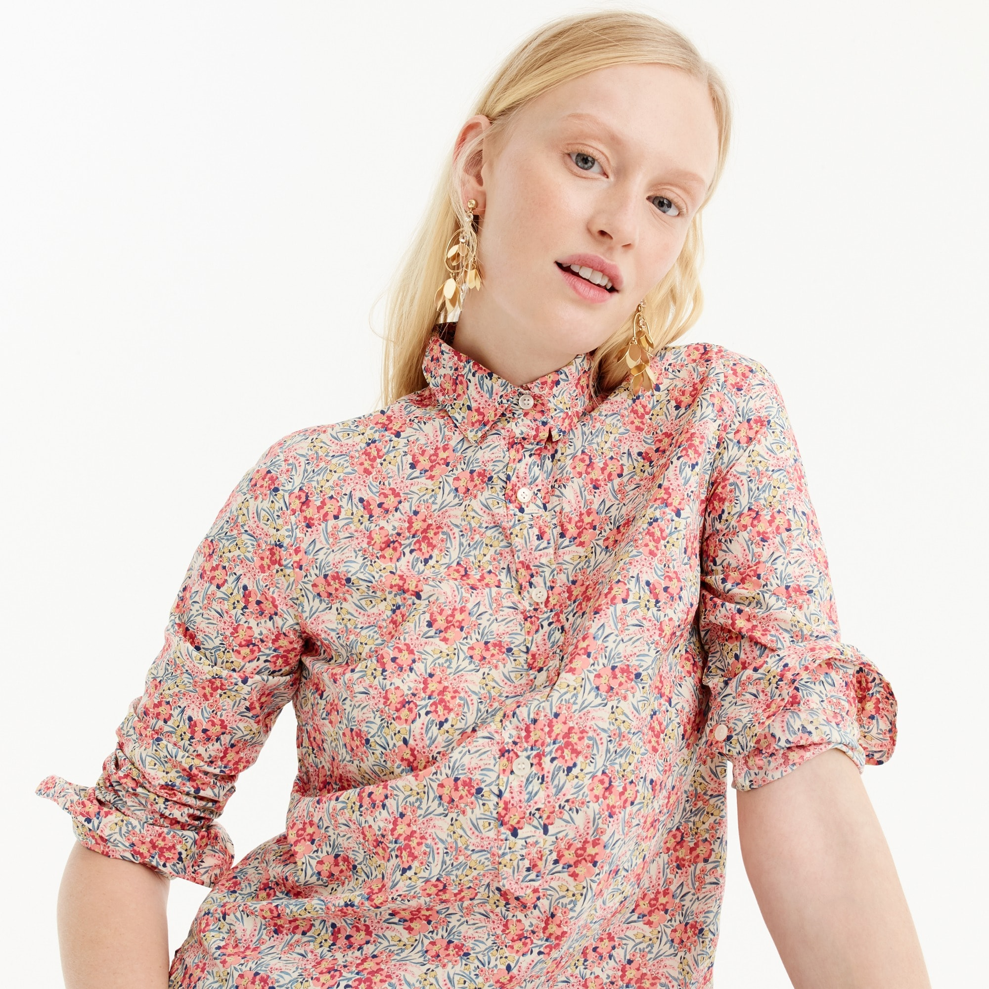 Image 3 for Tall classic popover shirt in Liberty® swirling petals