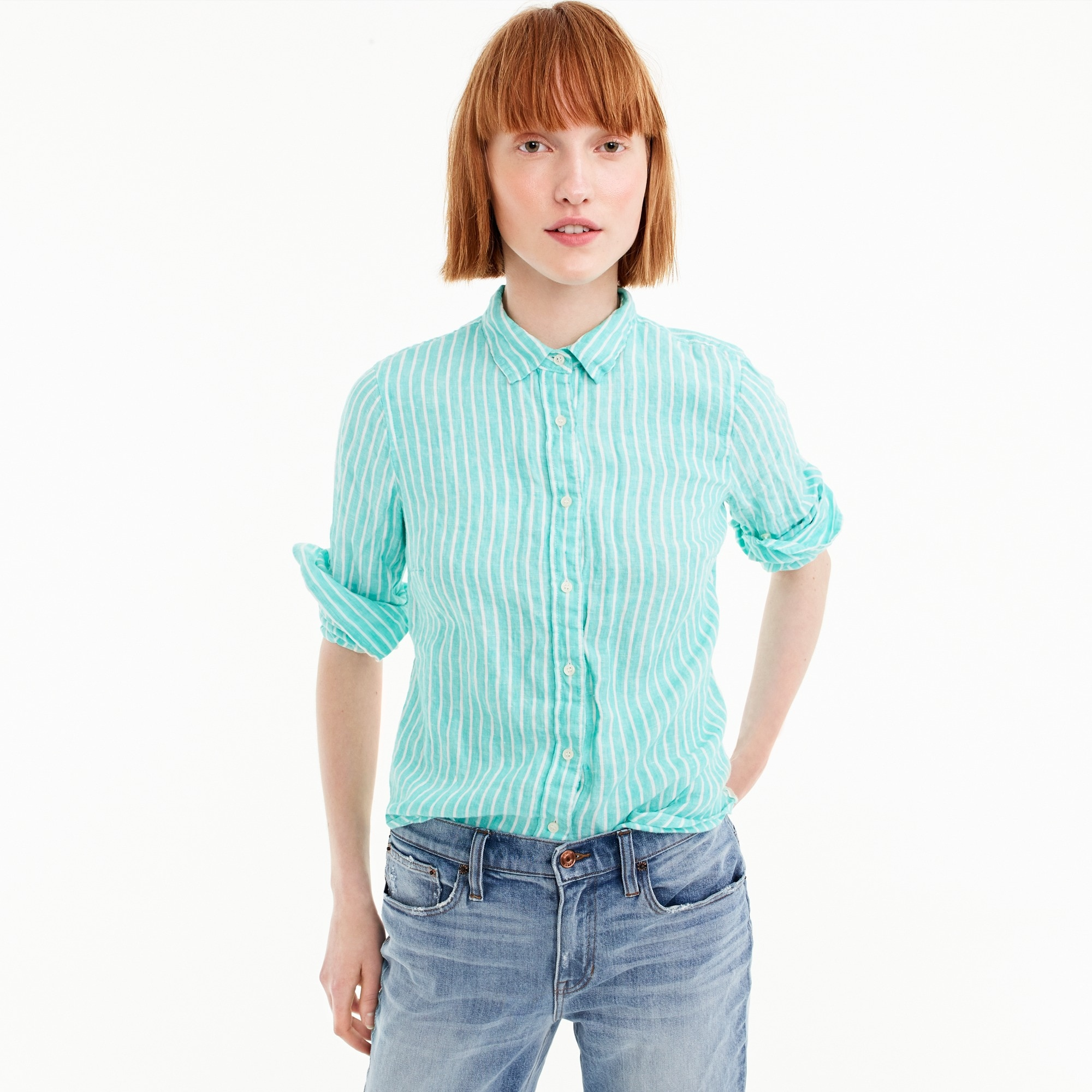 Petite slim perfect shirt in striped Irish linen