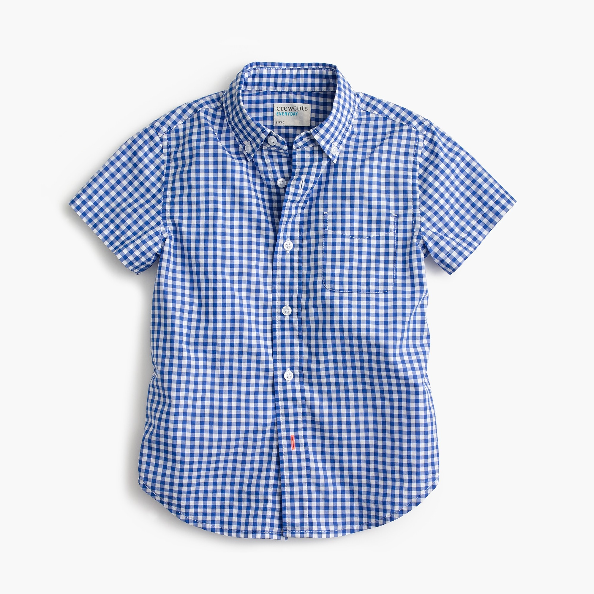 Kids' short-sleeve Secret Wash shirt in blue gingham