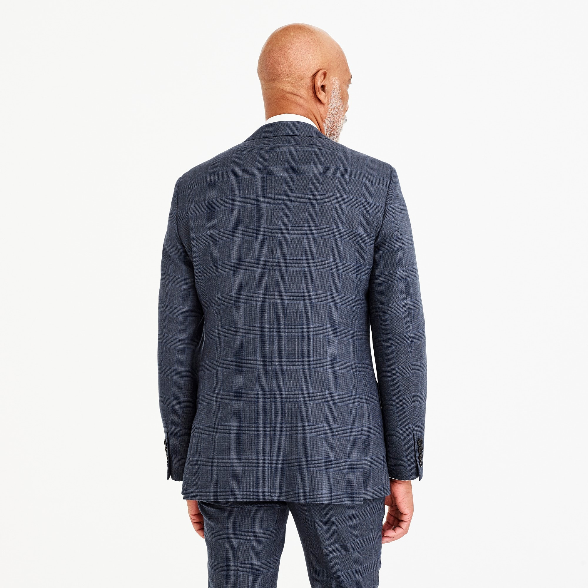 Ludlow Slim-fit suit jacket in blue glen plaid American wool