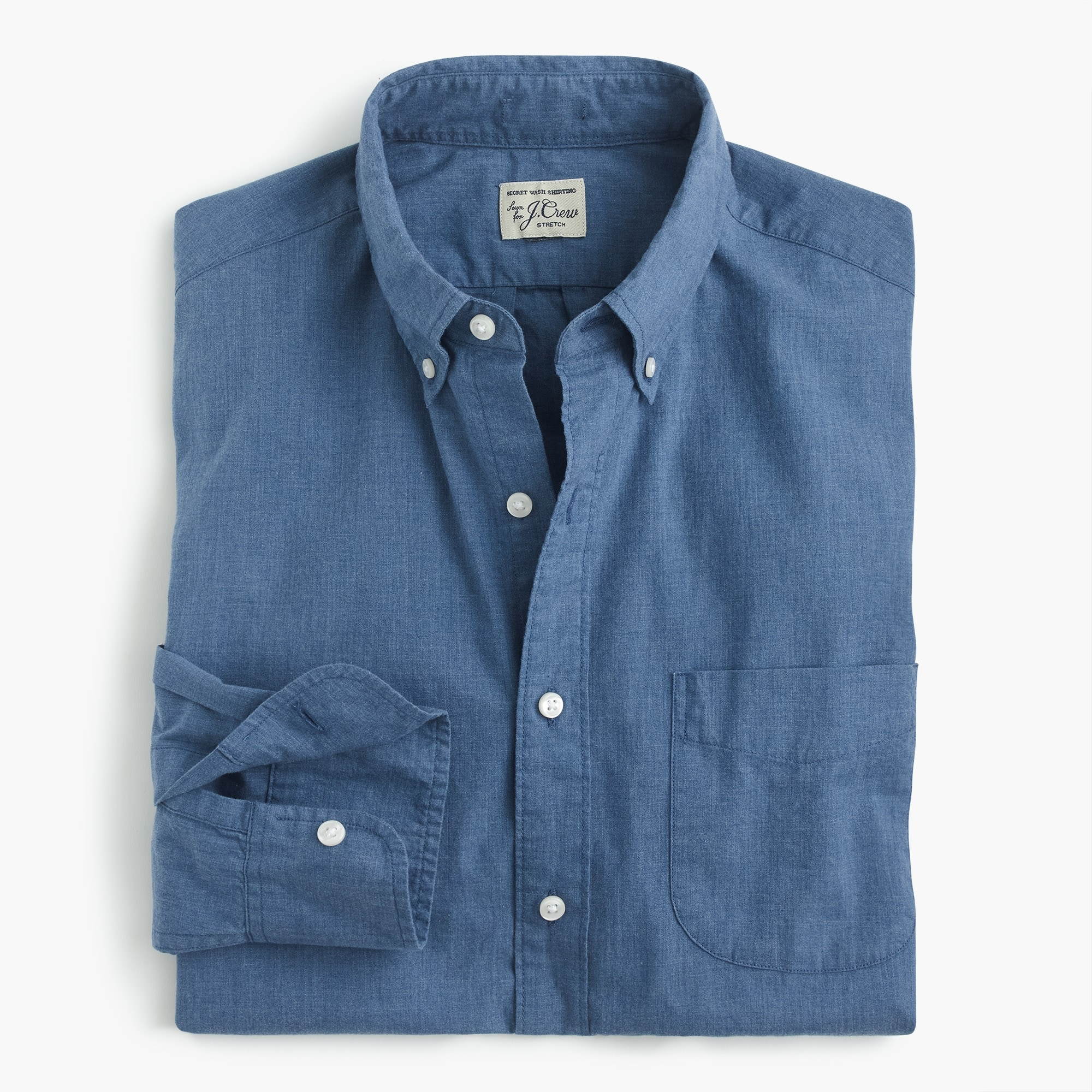 mens Stretch Secret Wash shirt in blue heather poplin