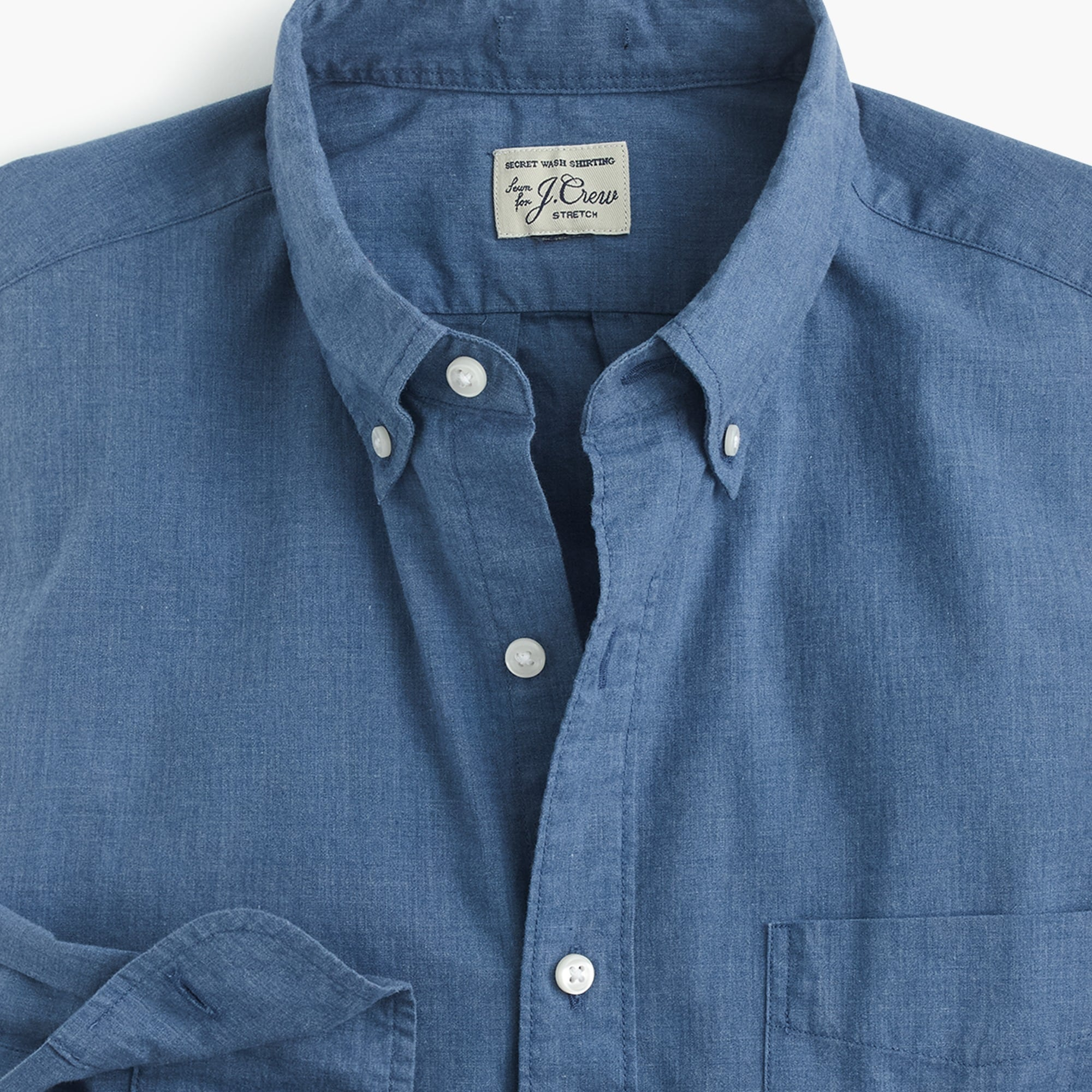 Slim stretch Secret Wash shirt in blue heather poplin