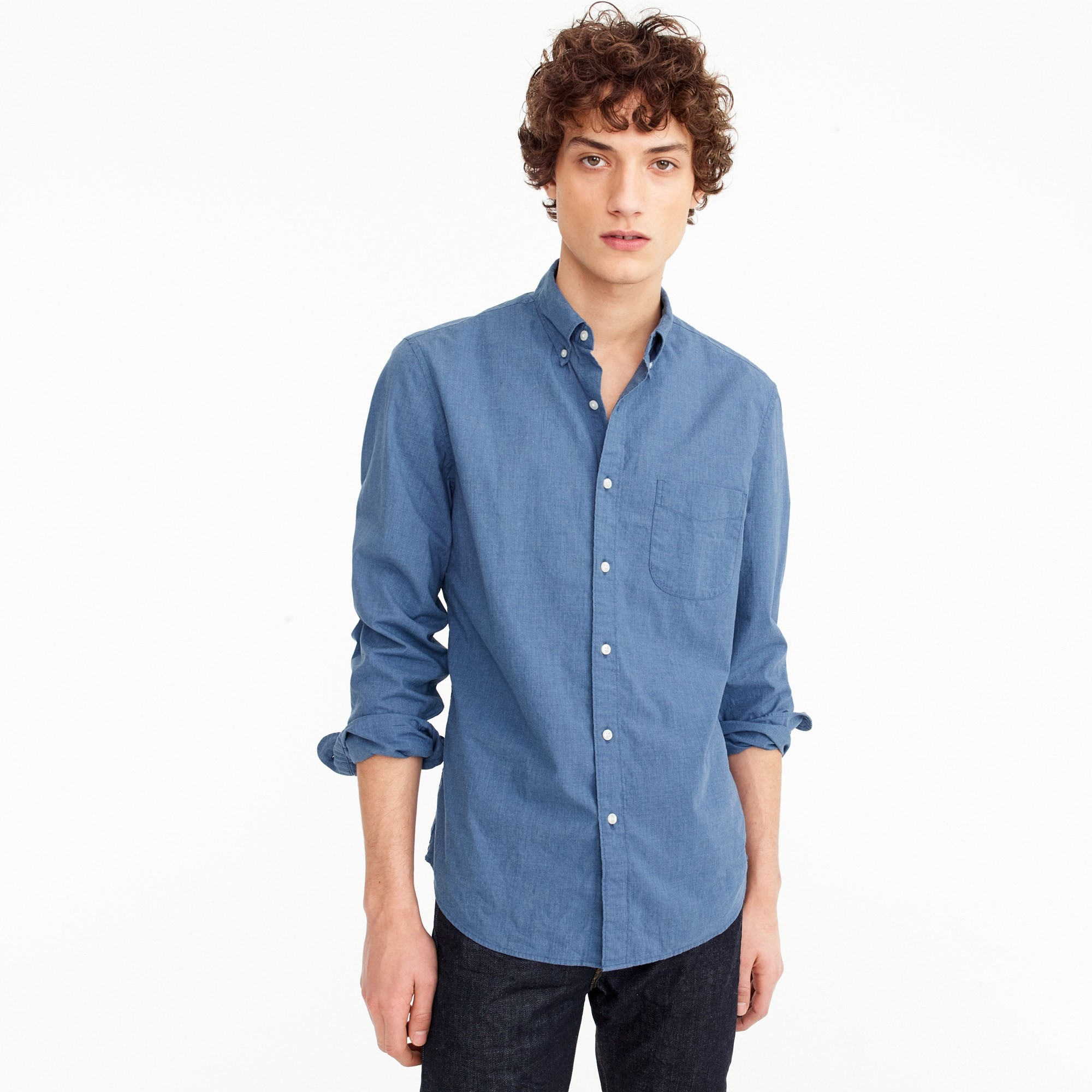 mens Tall stretch Secret Wash shirt in blue heather poplin