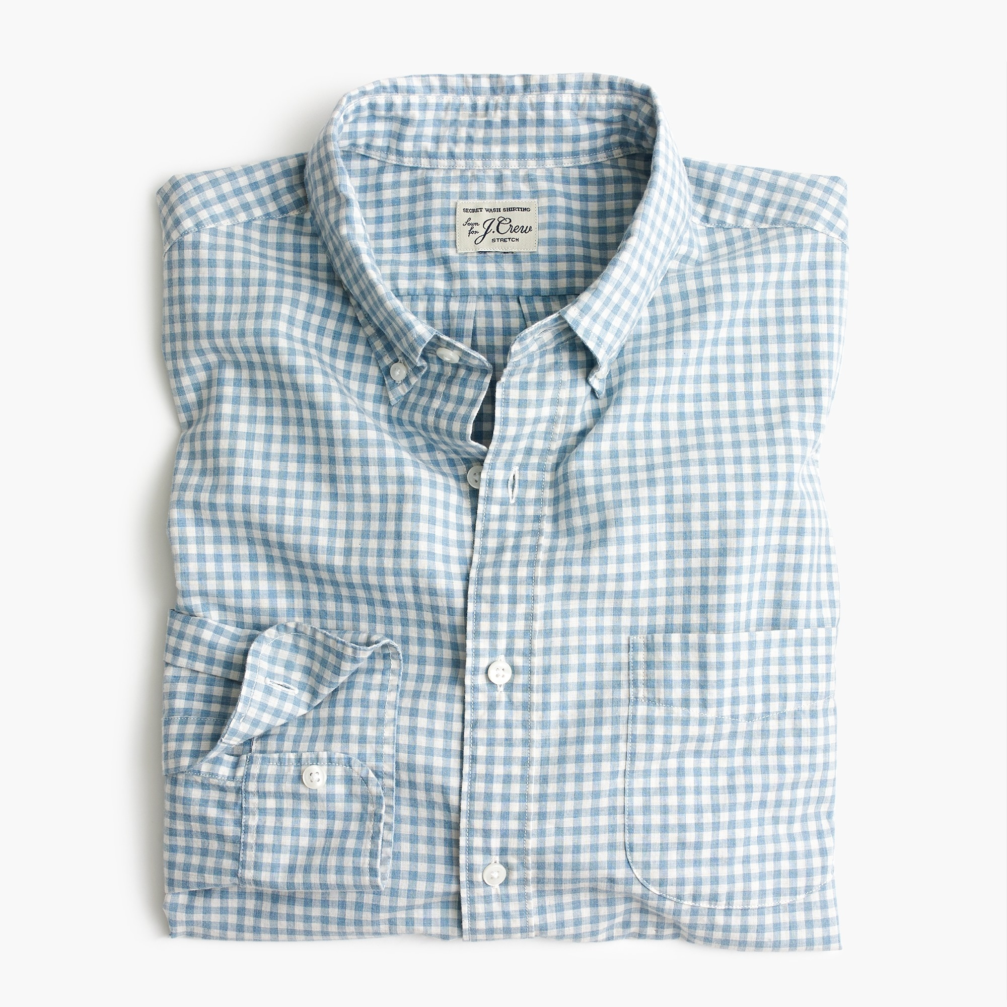 Image 1 for Stretch Secret Wash shirt in blue heather poplin gingham