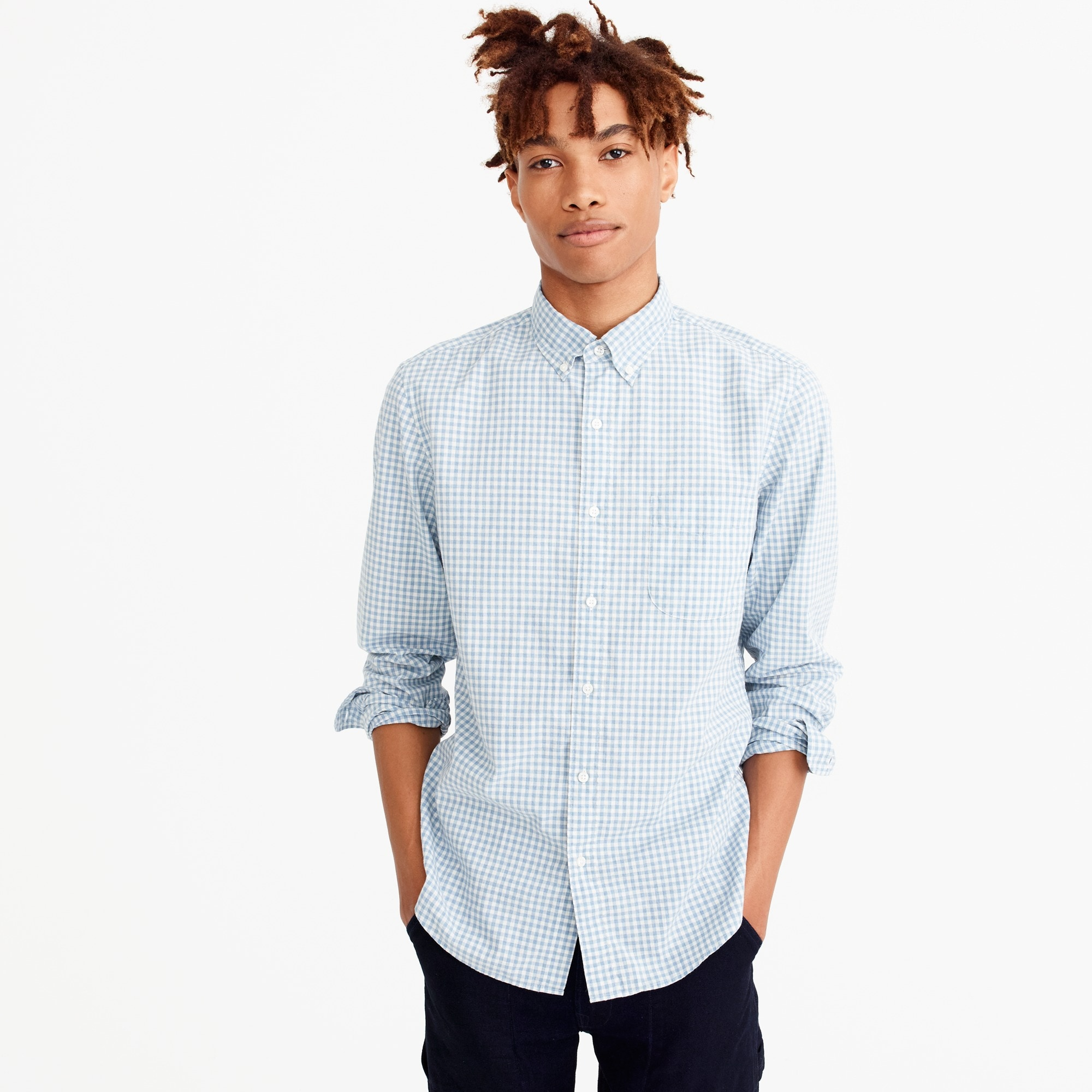 Stretch Secret Wash shirt in blue heather poplin gingham