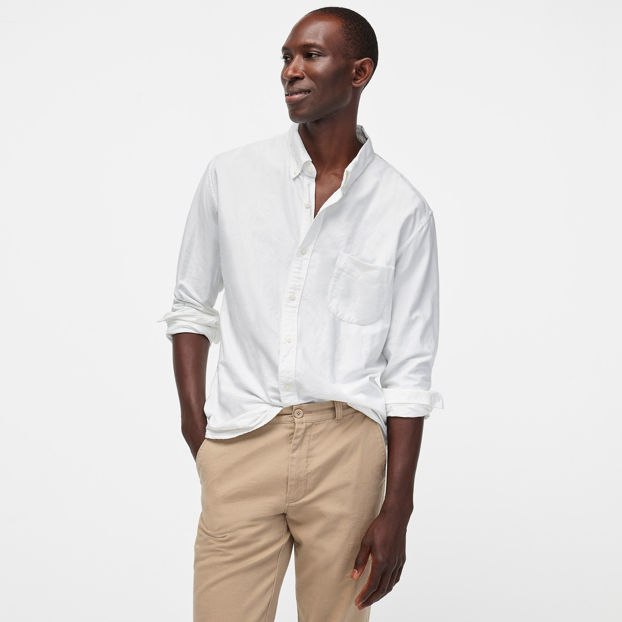 men's american pima cotton oxford shirt with mechanical stretch - men's woven shirts