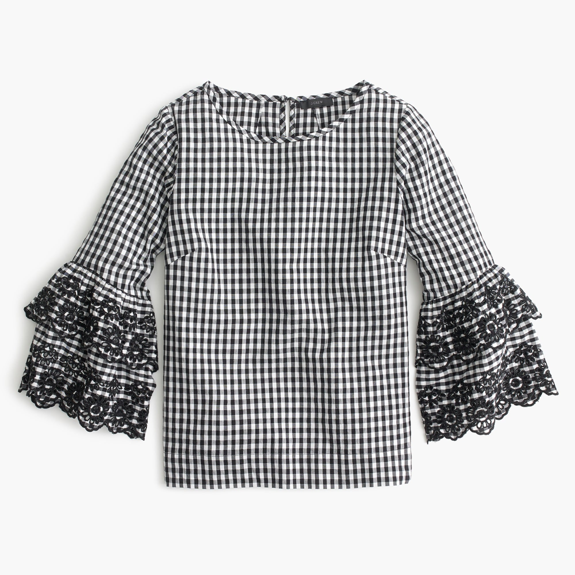 Image 1 for Tiered bell-sleeve top in gingham