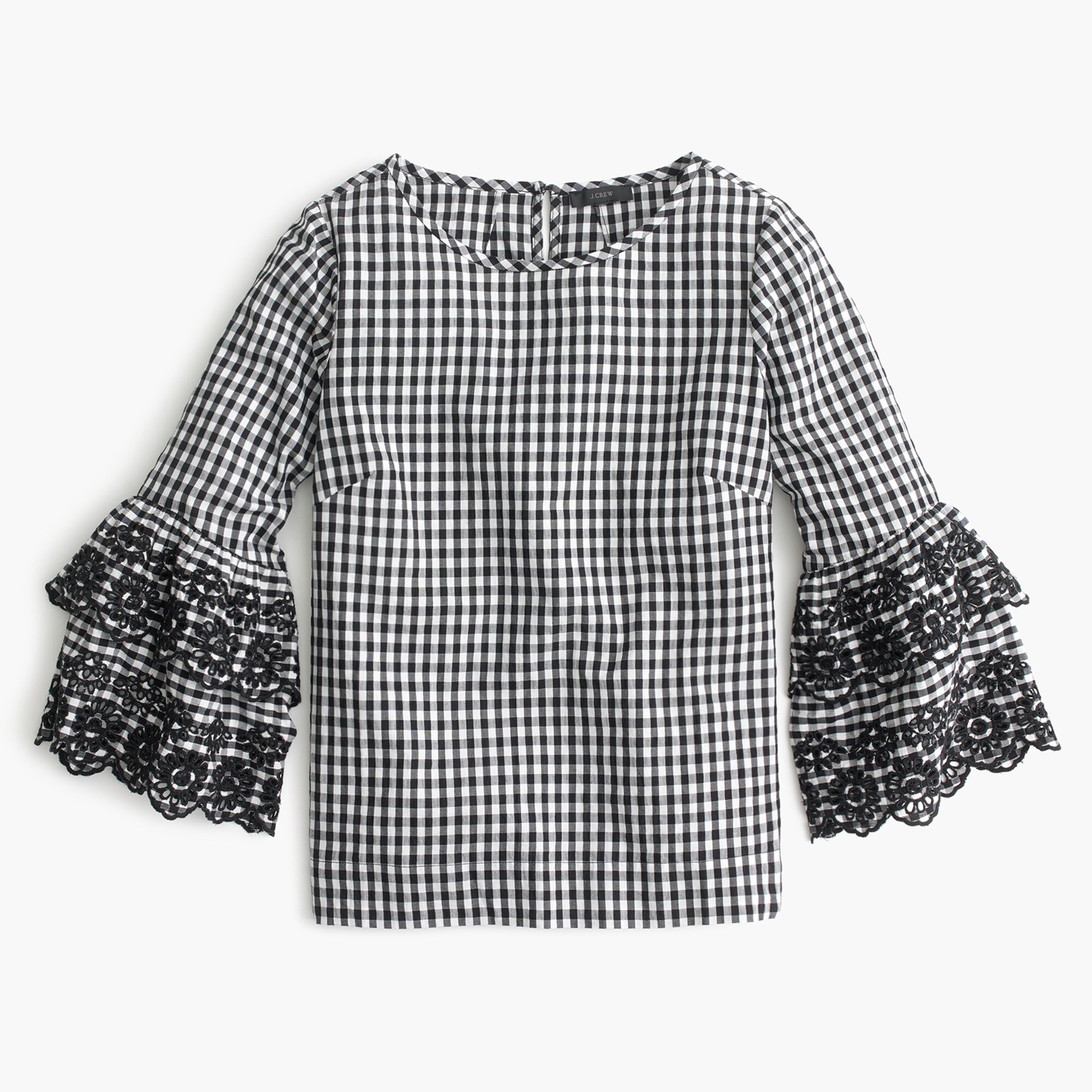 women's tiered bell-sleeve top in gingham - women's shirts