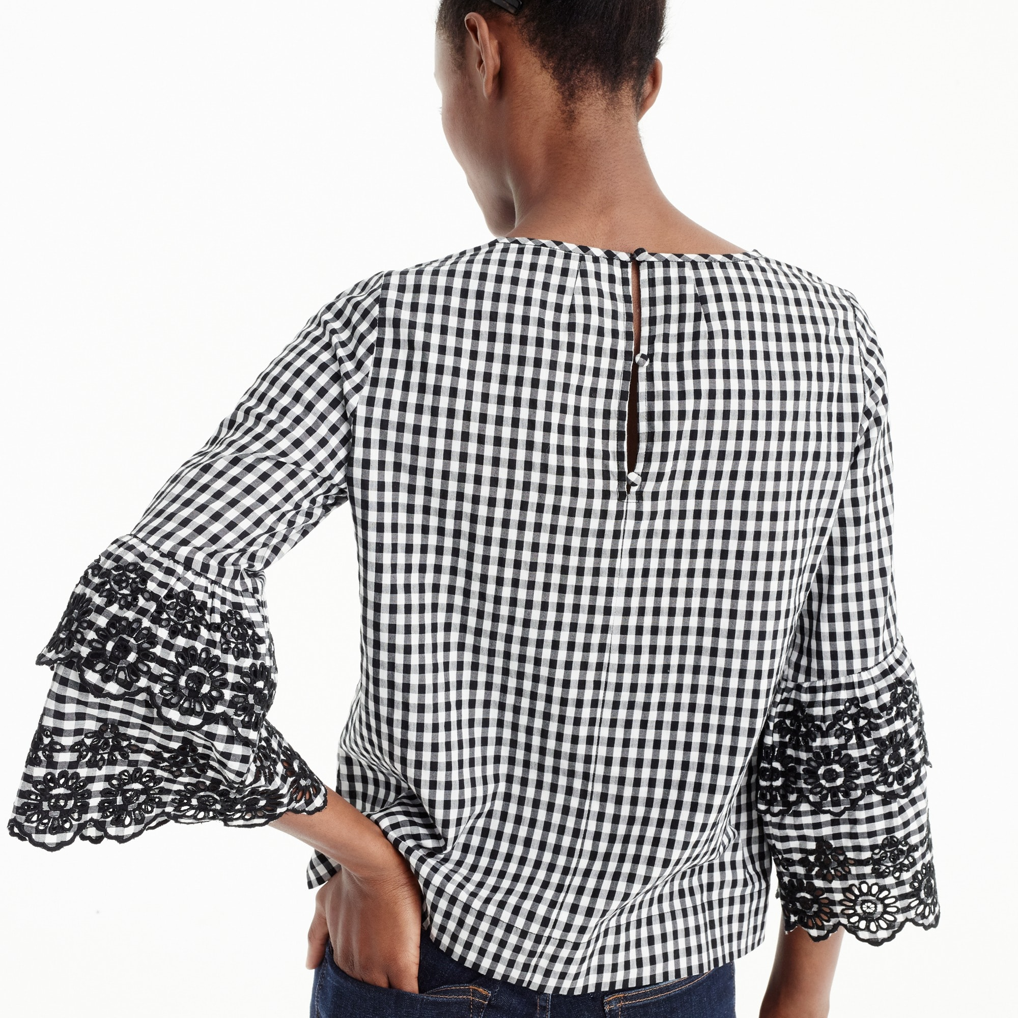 Tiered bell-sleeve top in gingham