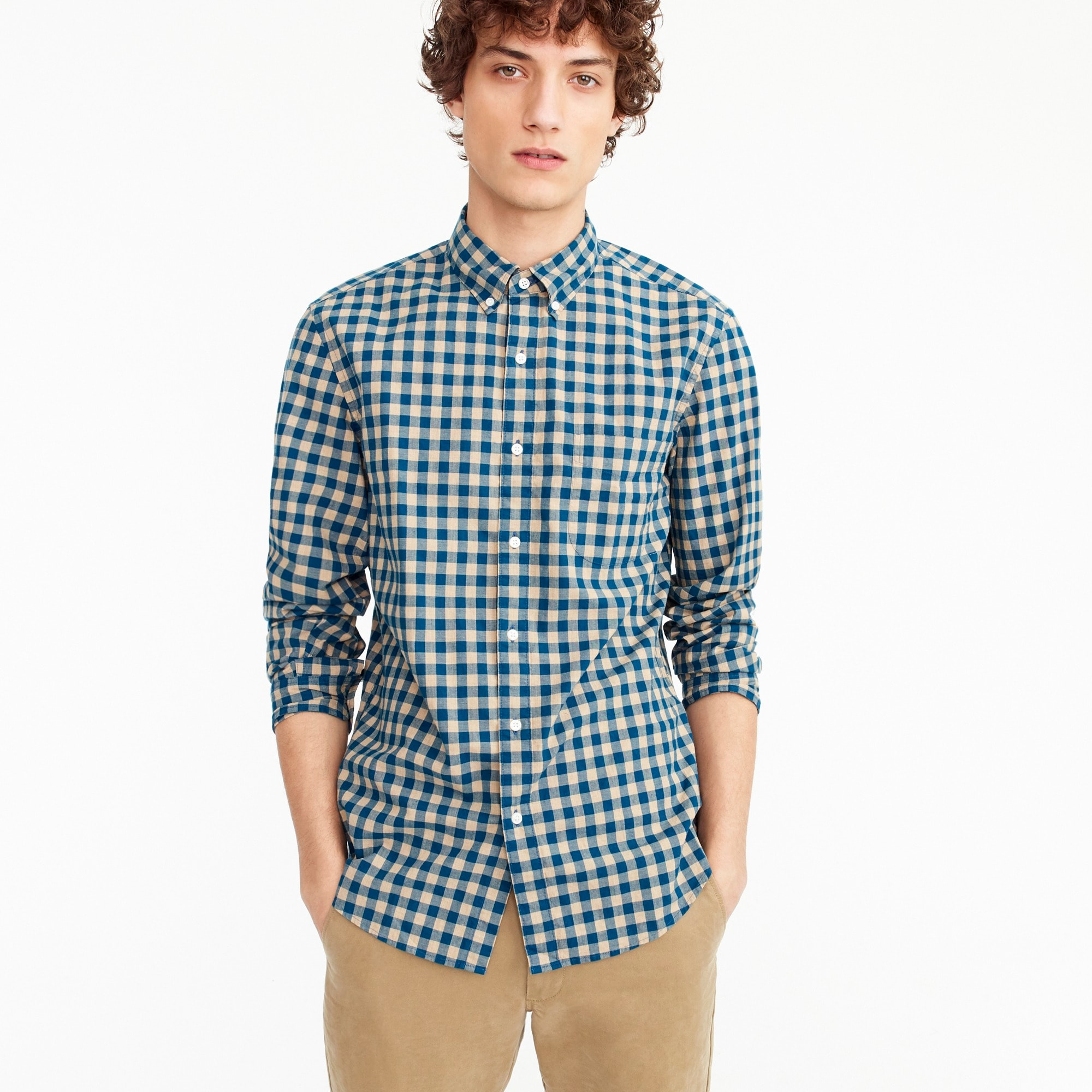 Stretch Secret Wash shirt in heather poplin gingham men new arrivals c