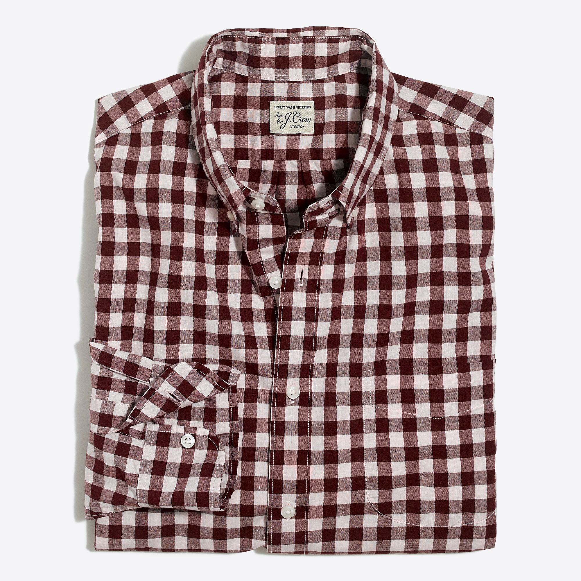 mens Tall stretch Secret Wash shirt in heather poplin gingham