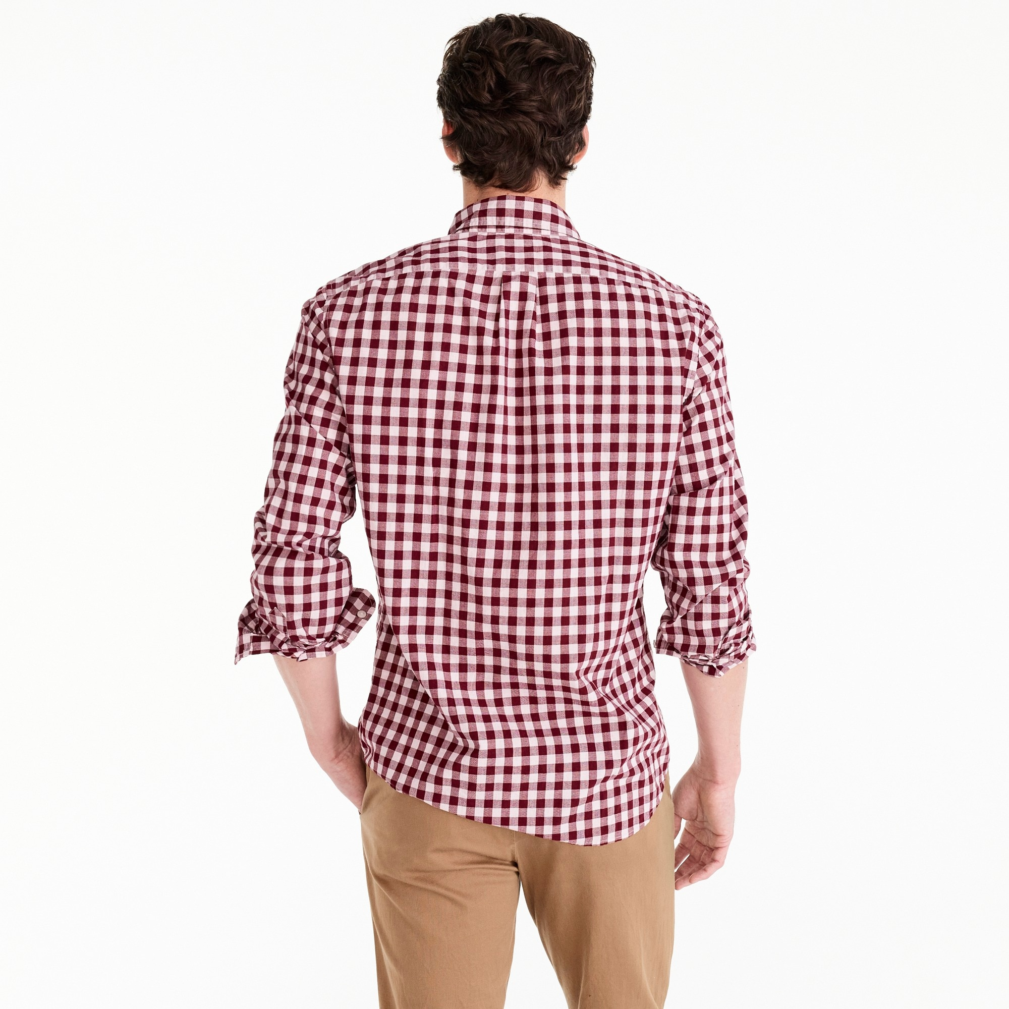 Image 3 for Slim stretch Secret Wash shirt in heather poplin gingham