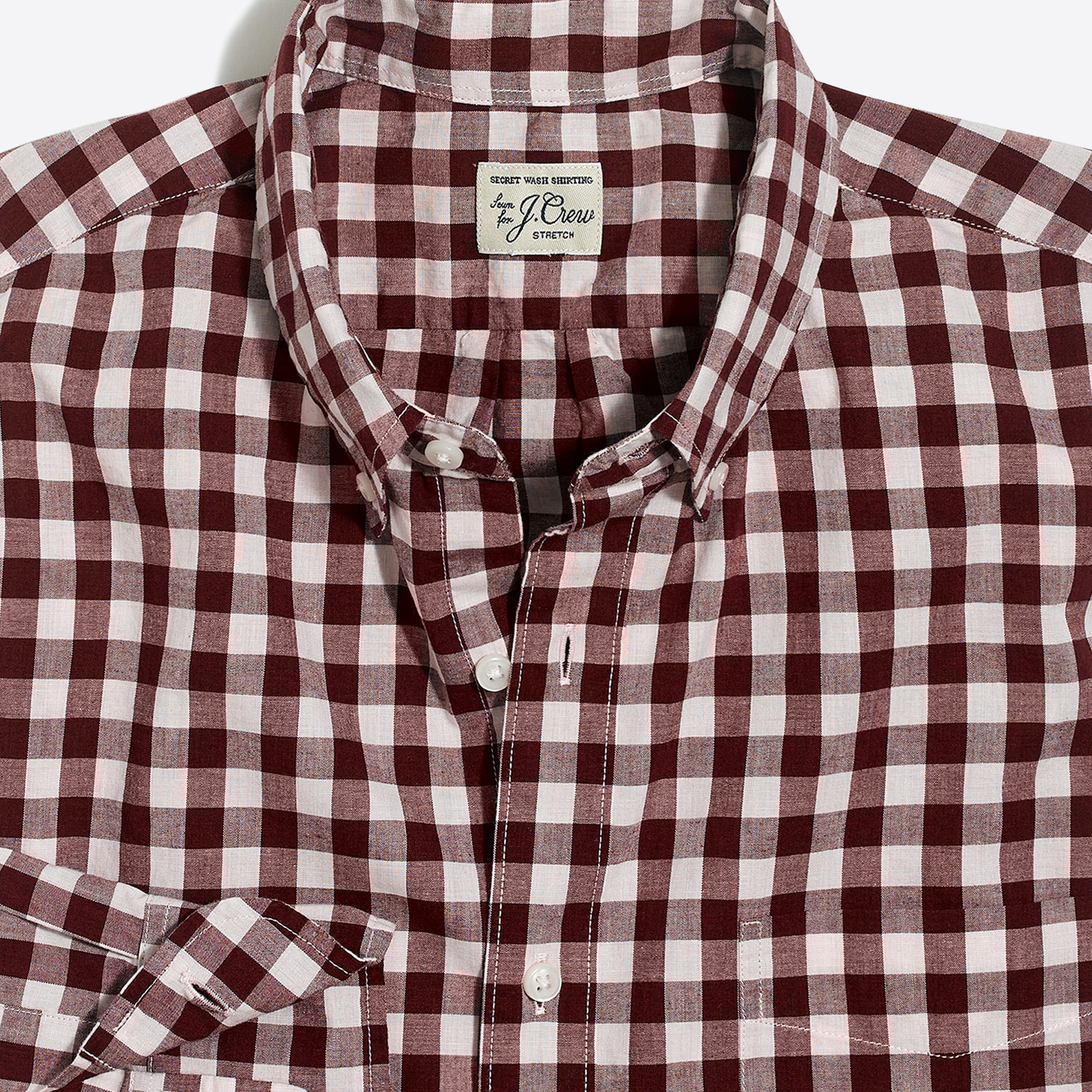 Image 5 for Slim stretch Secret Wash shirt in heather poplin gingham