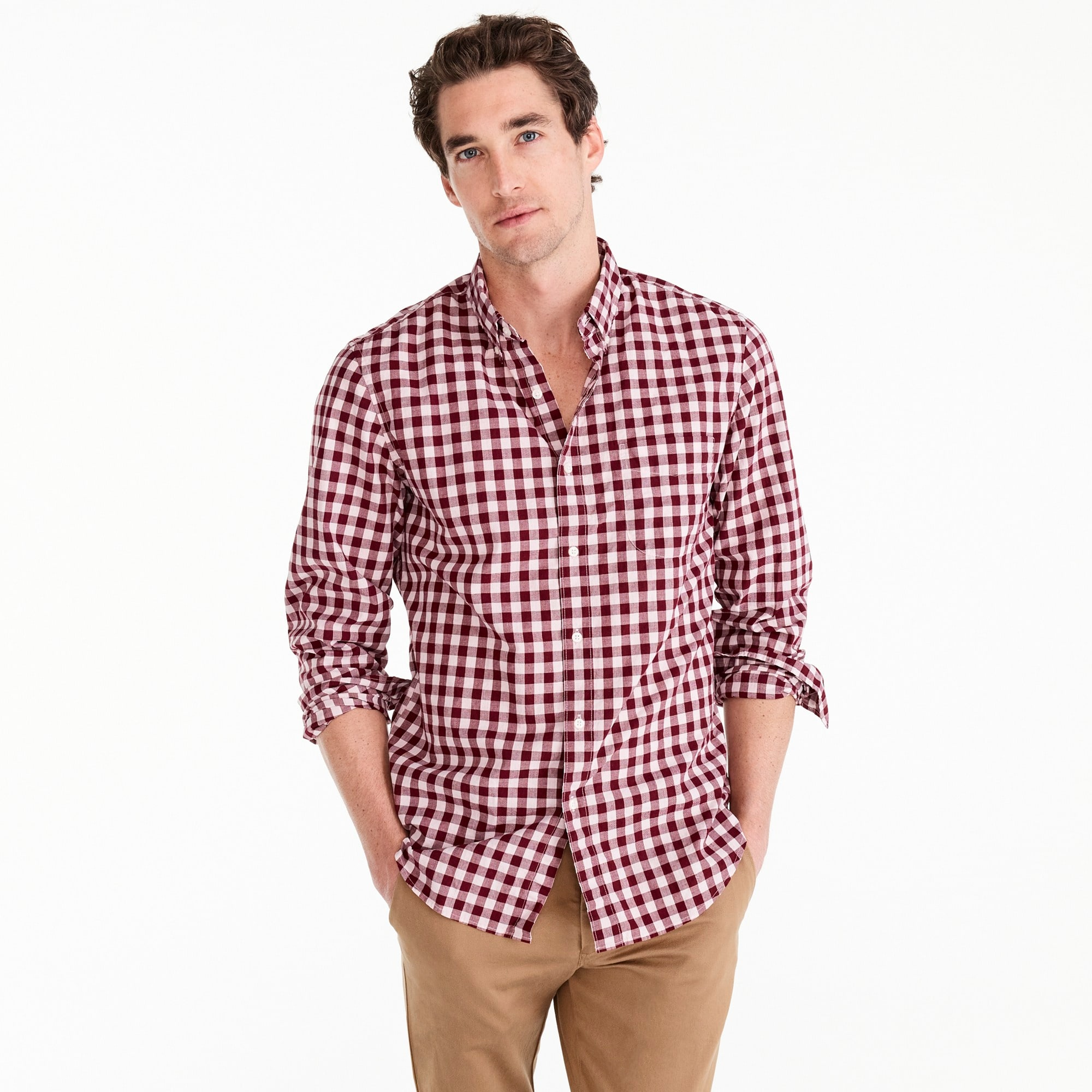 Image 2 for Untucked stretch Secret Wash shirt in heather poplin gingham