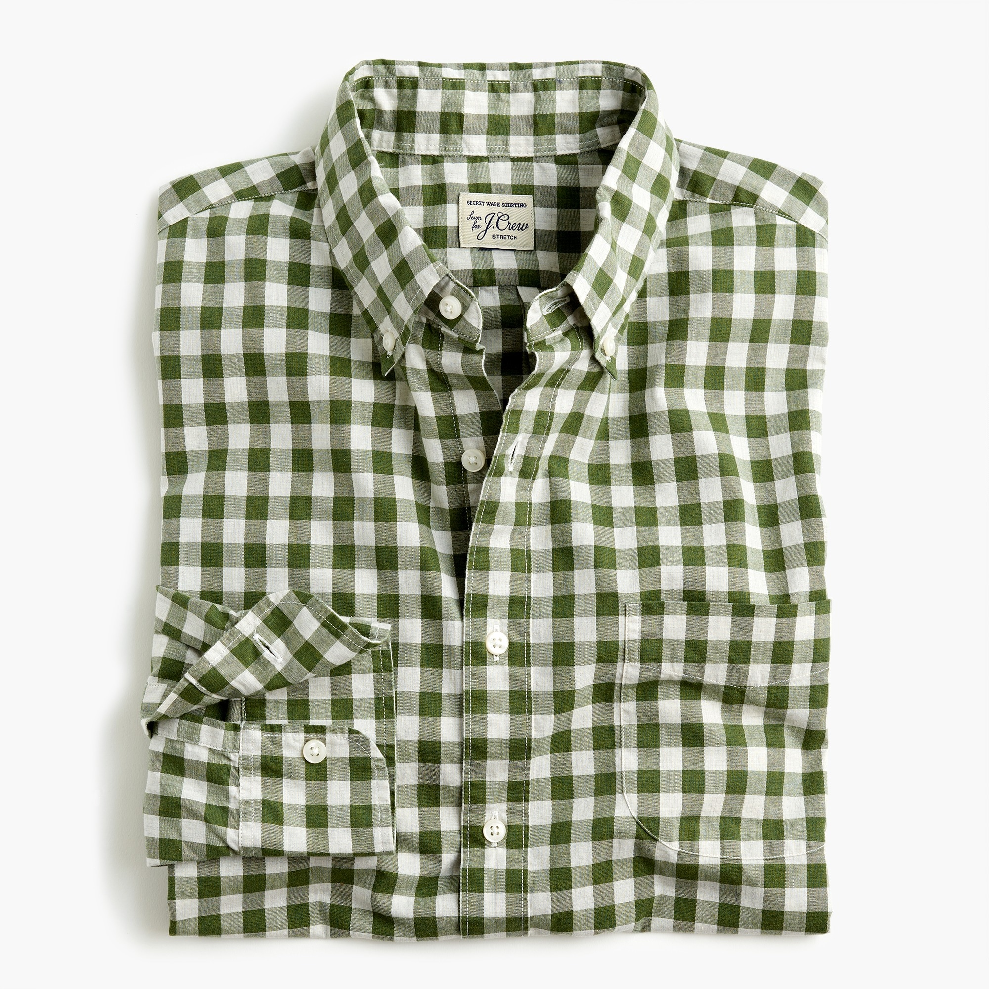 mens Untucked stretch Secret Wash shirt in heather poplin gingham