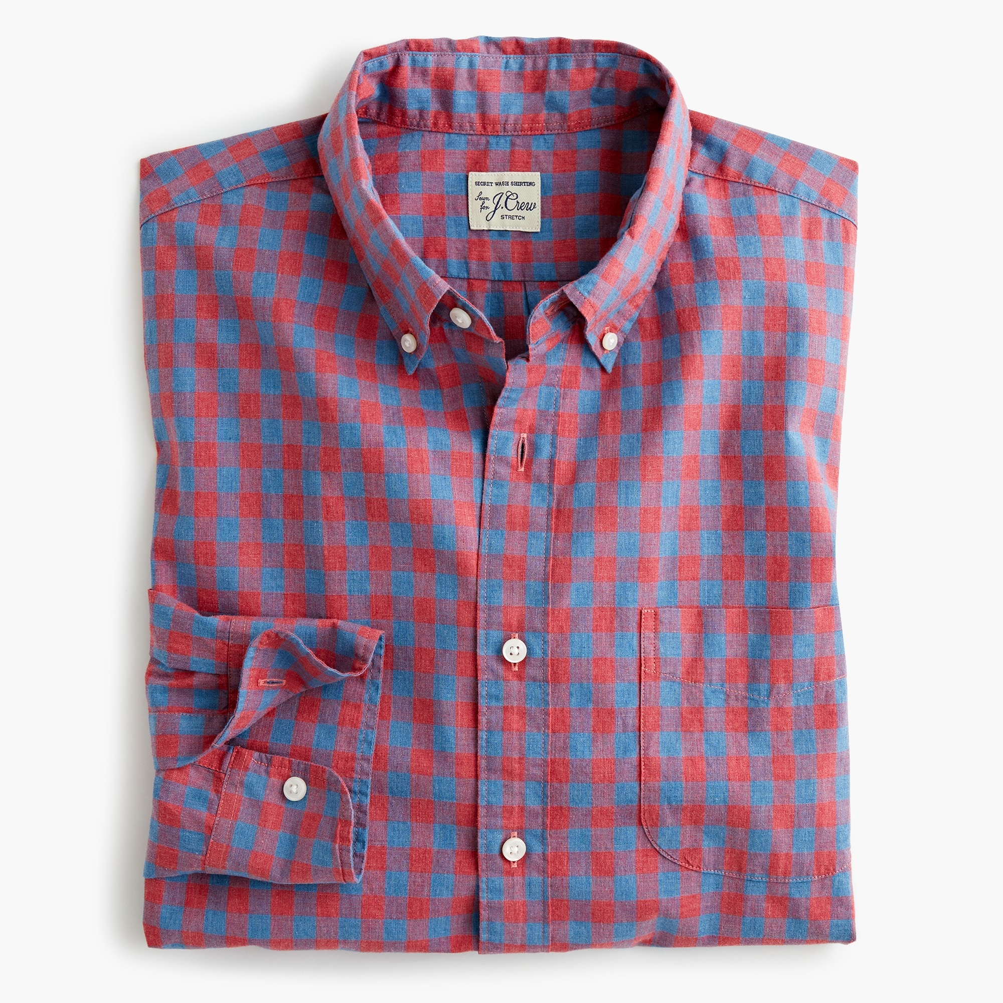 mens Stretch Secret Wash shirt in heather poplin gingham