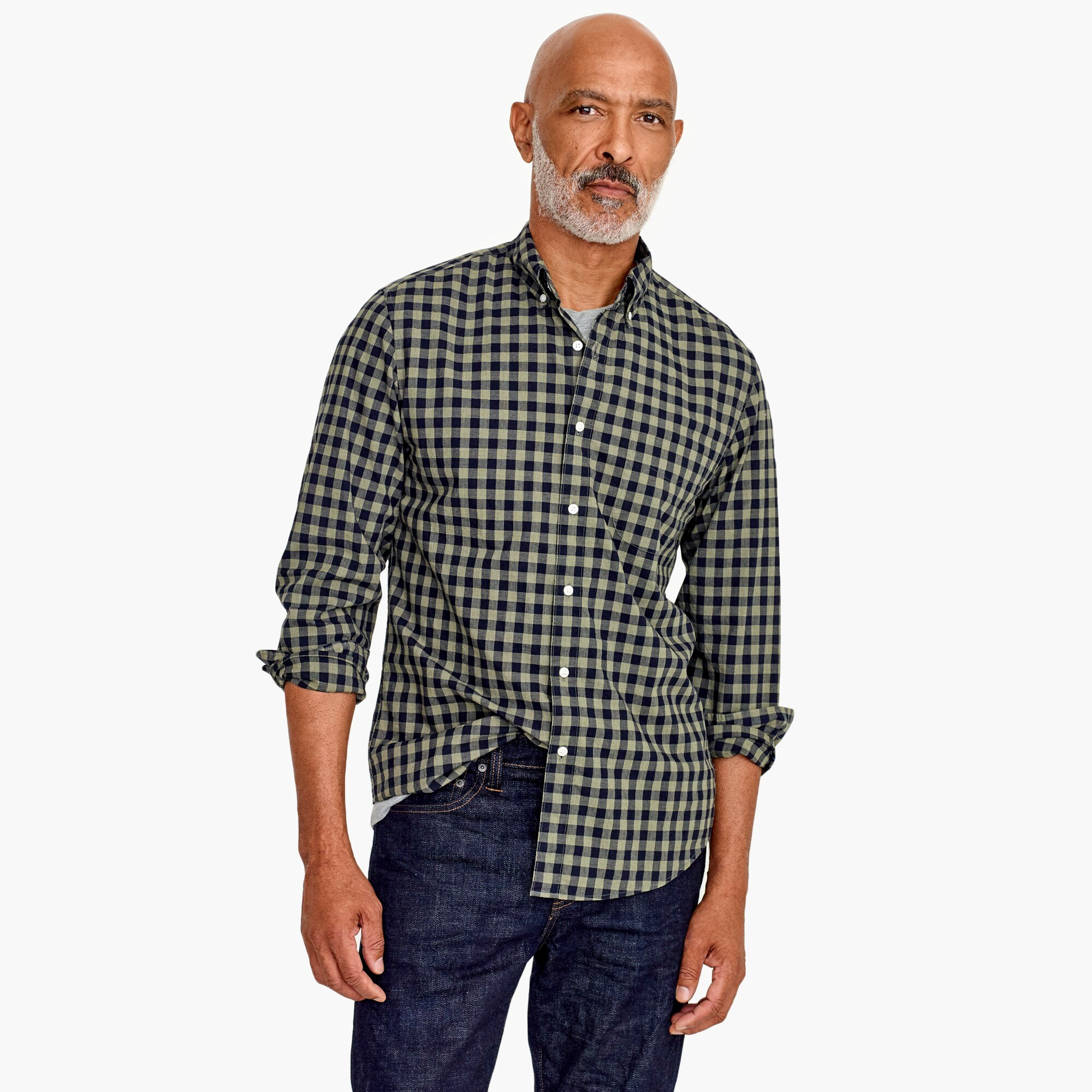 mens Slim stretch Secret Wash shirt in heather poplin gingham