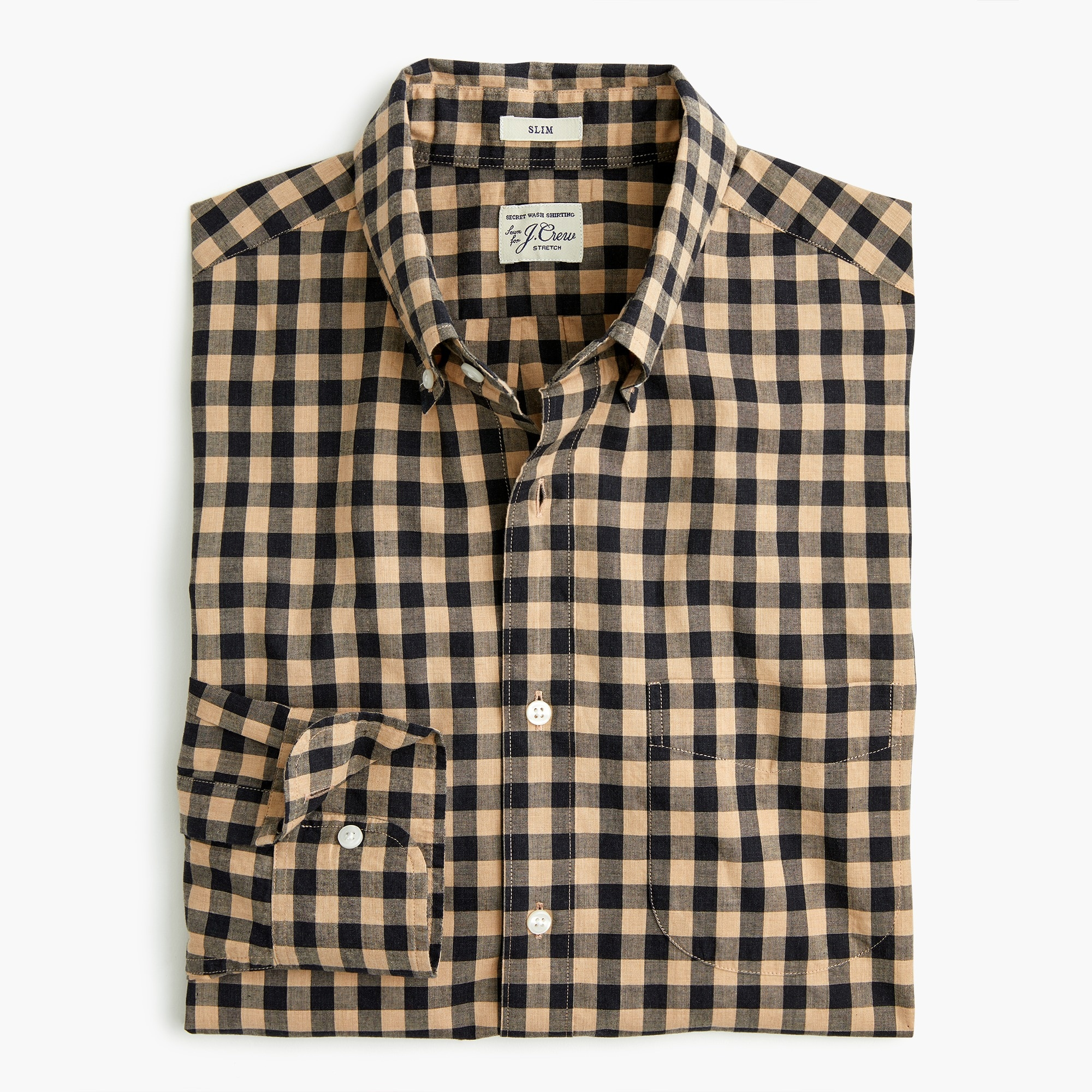 slim stretch secret wash shirt in heather poplin gingham - men's shirts
