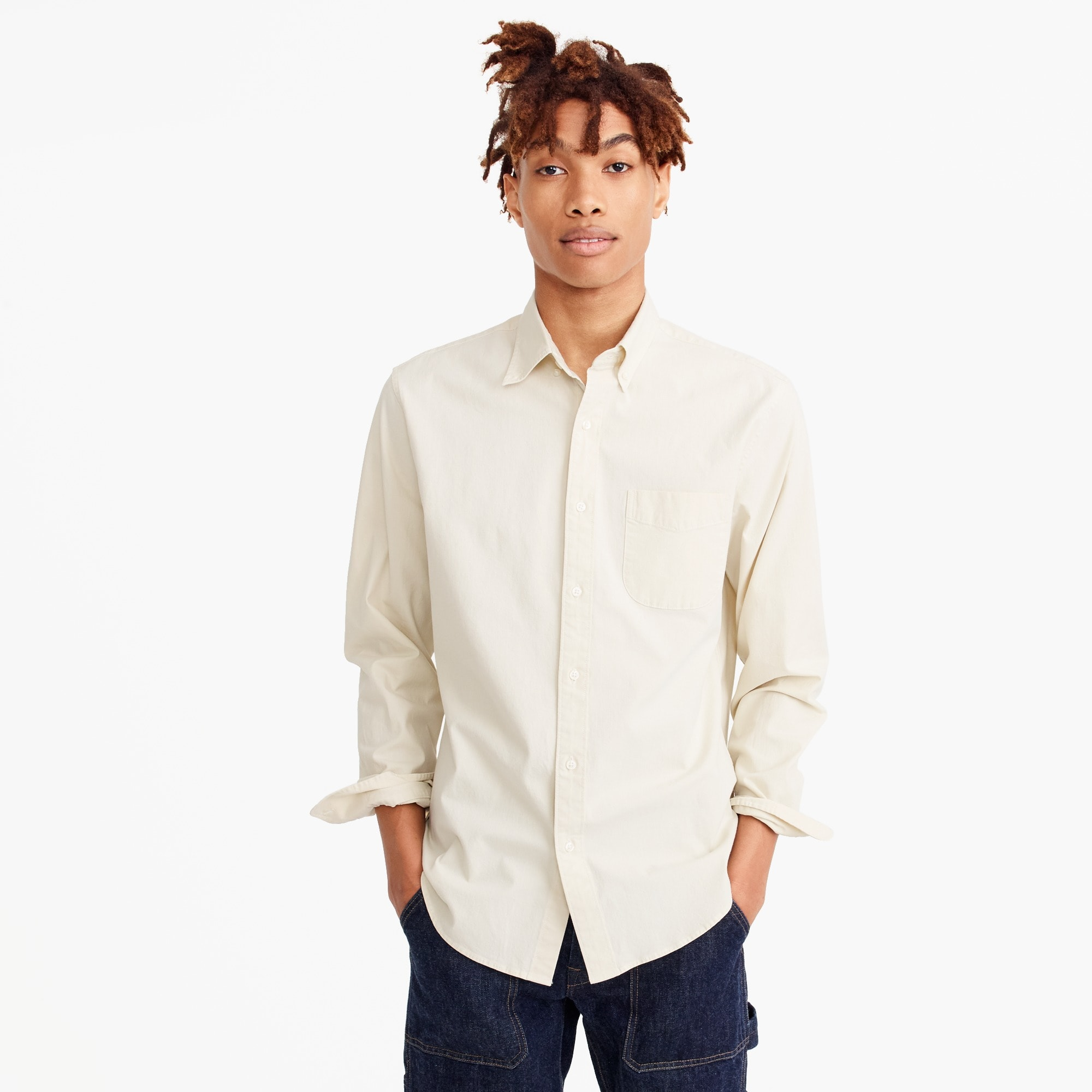 Slim stretch one-pocket chambray shirt