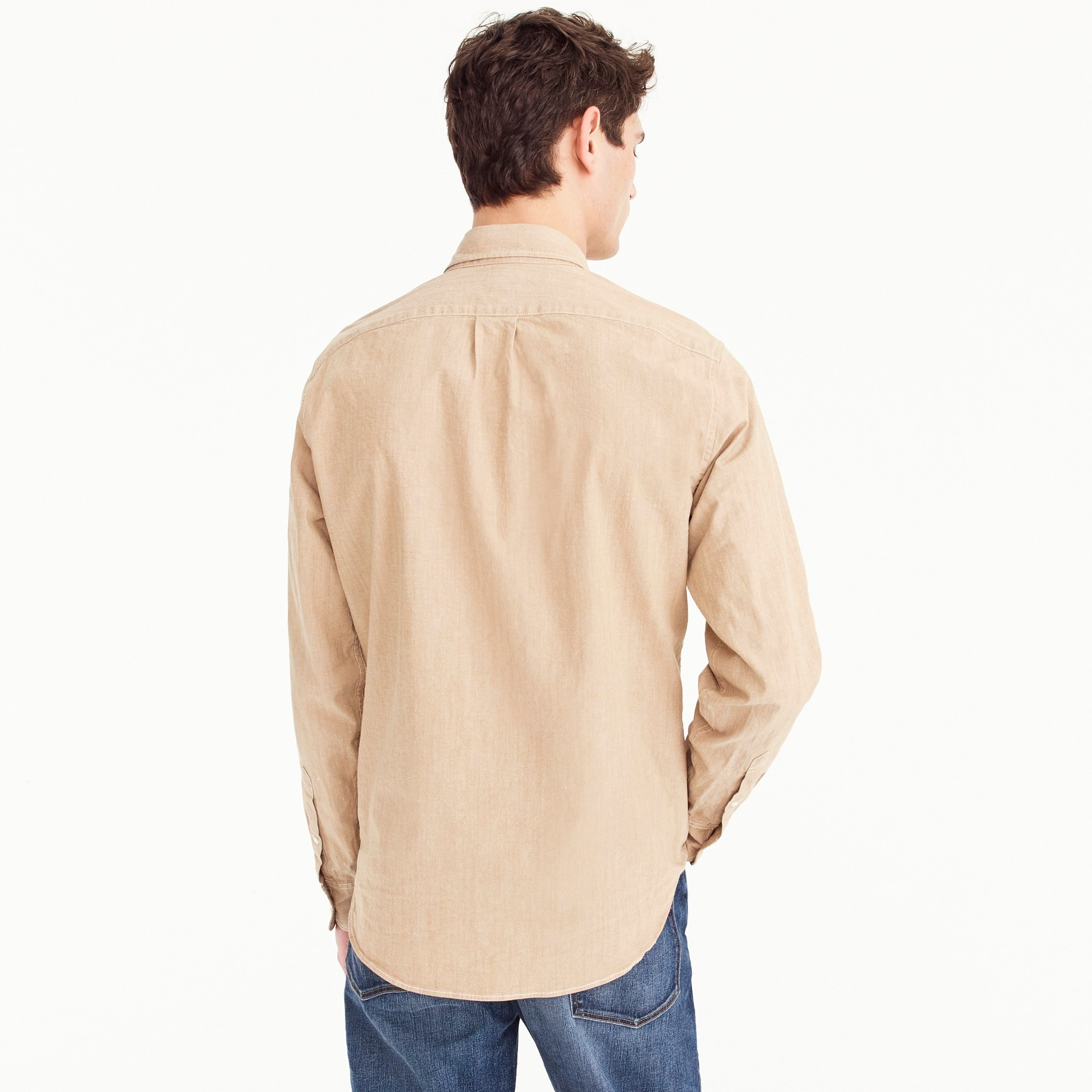 Image 2 for Tall stretch one-pocket chambray shirt