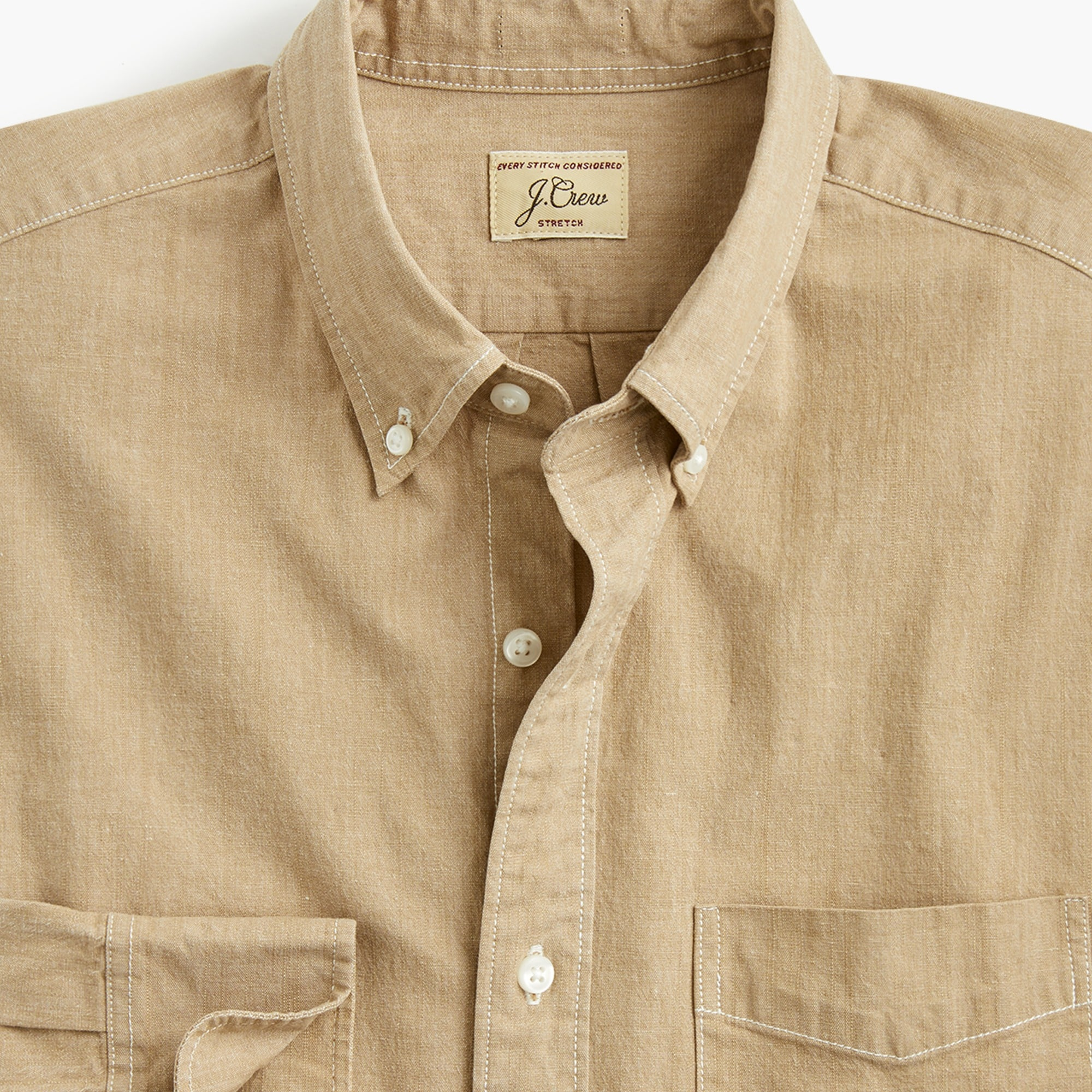 Image 3 for Tall stretch one-pocket chambray shirt
