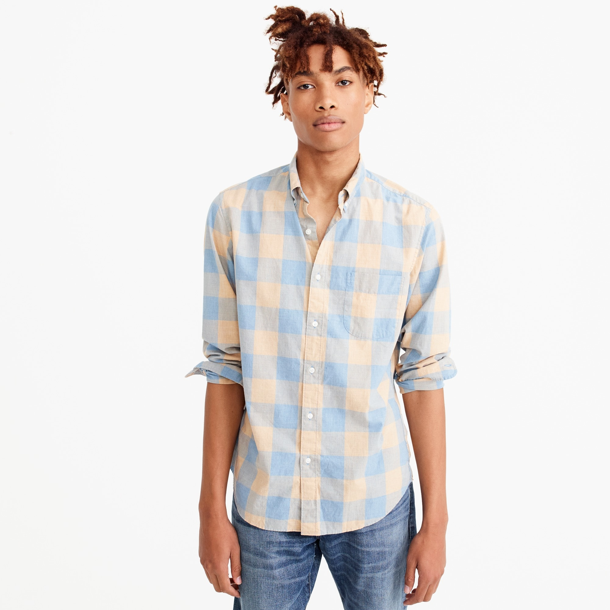 Slim stretch Secret Wash shirt in heather poplin buffalo plaid