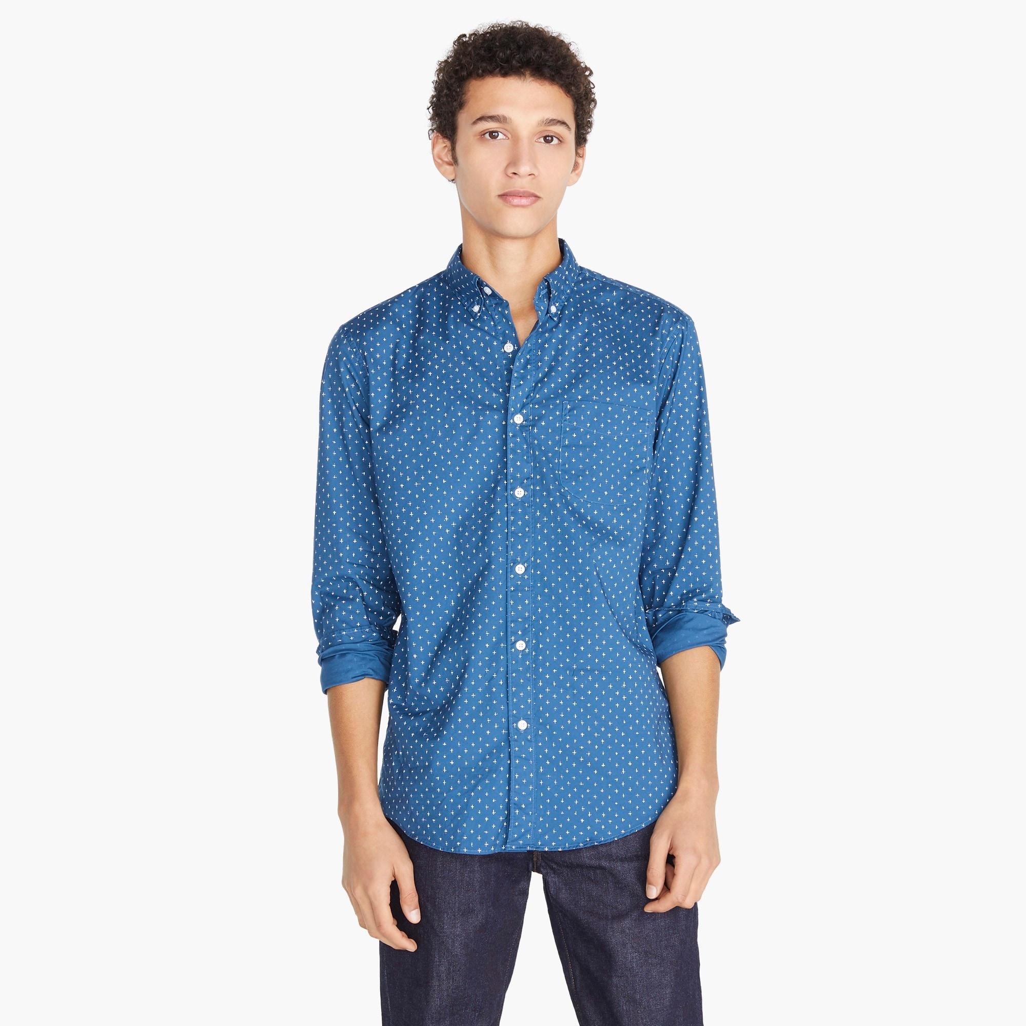 mens Tall stretch Secret Wash shirt in blue crosshatch print