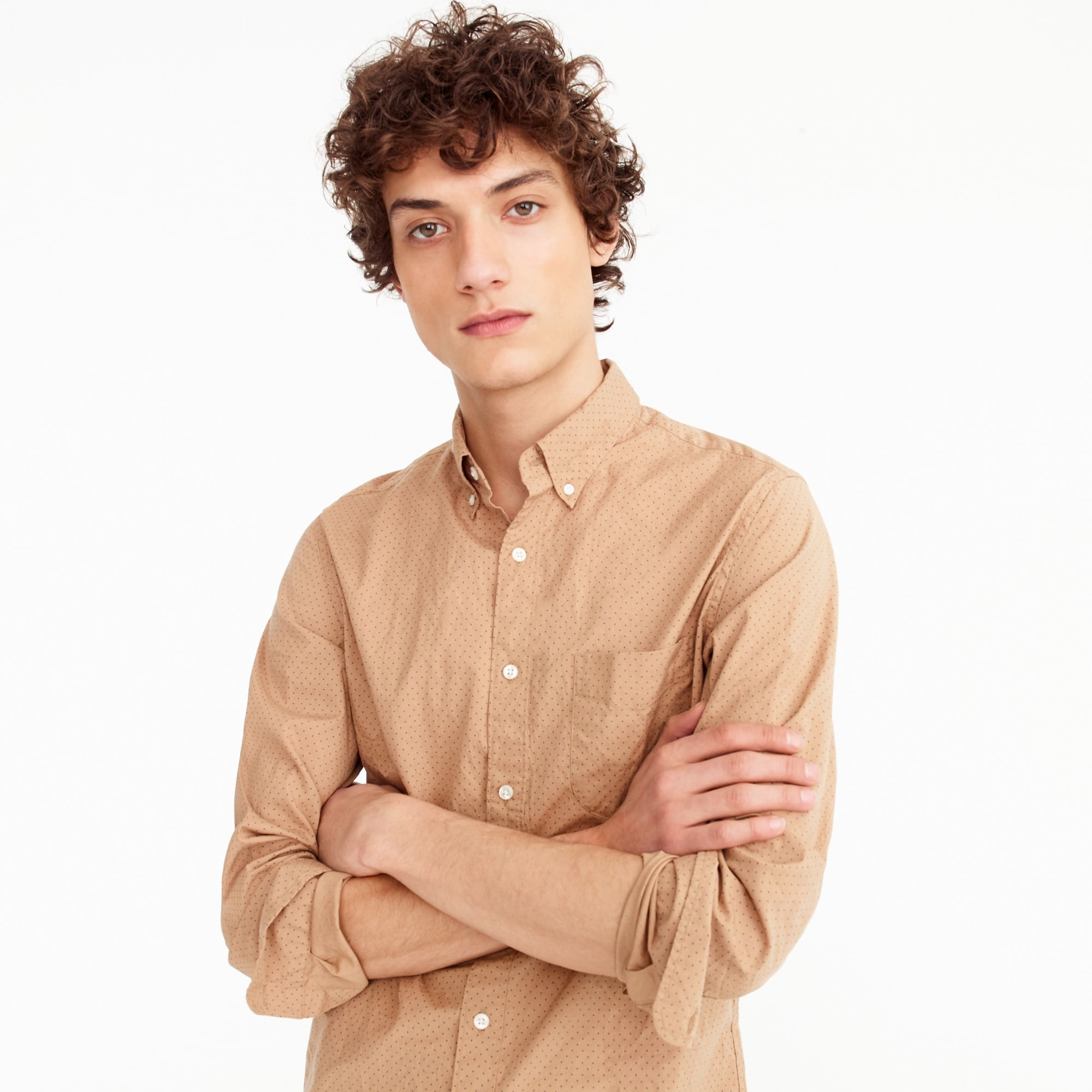 men's untucked stretch secret wash shirt in dotted bronze - men's woven shirts