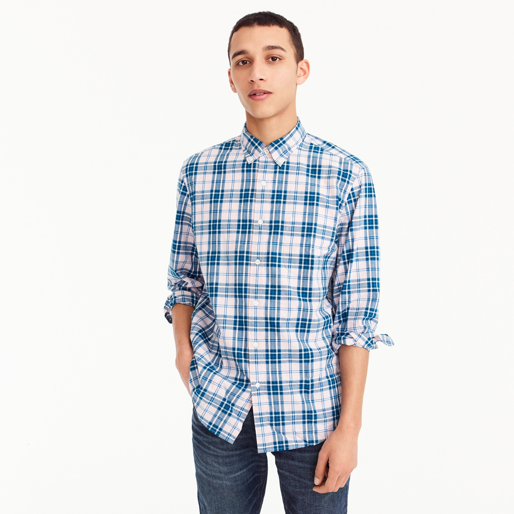 Stretch Secret Wash shirt in heather poplin plaid men new arrivals c