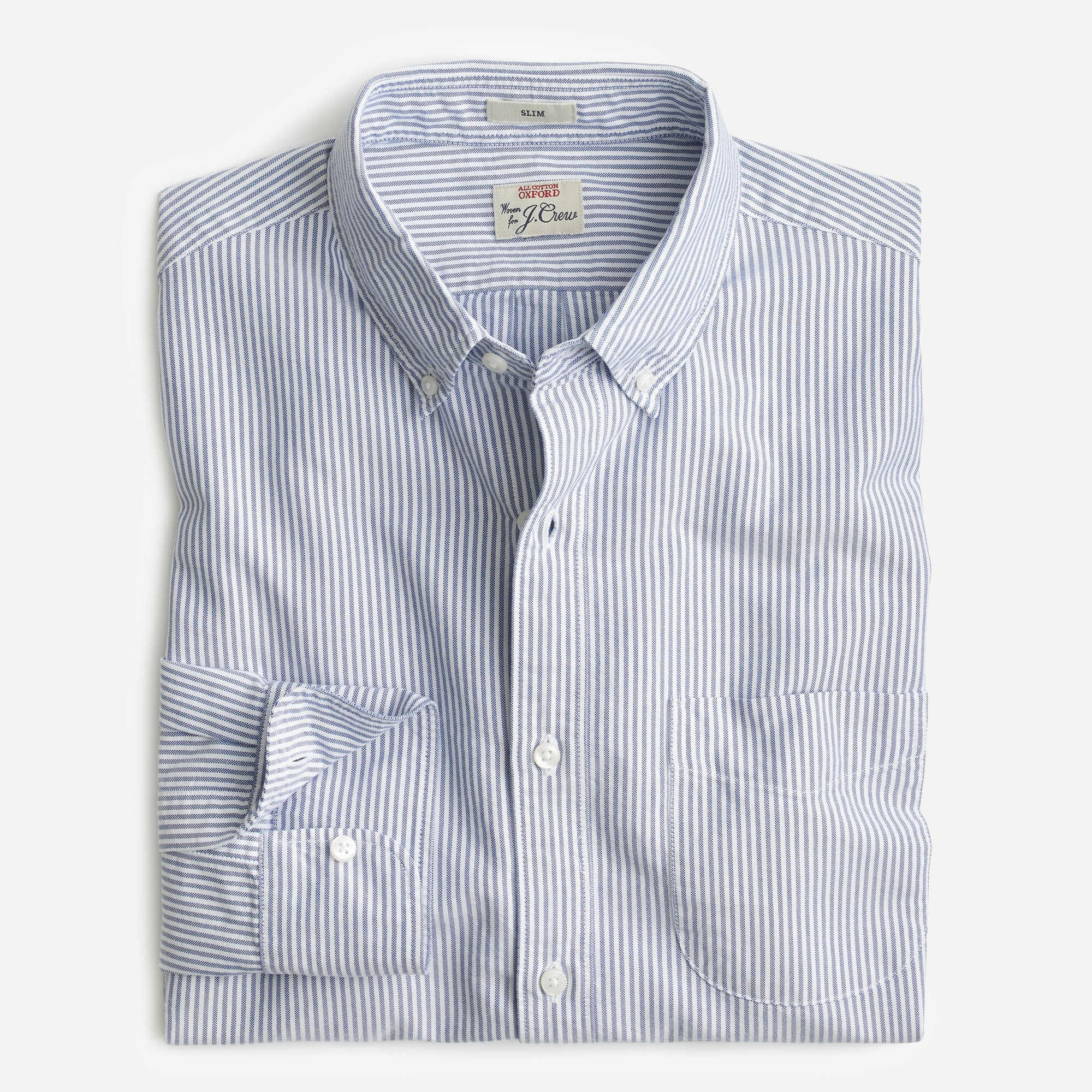 mens Slim American Pima cotton oxford shirt with mechanical stretch in stripe