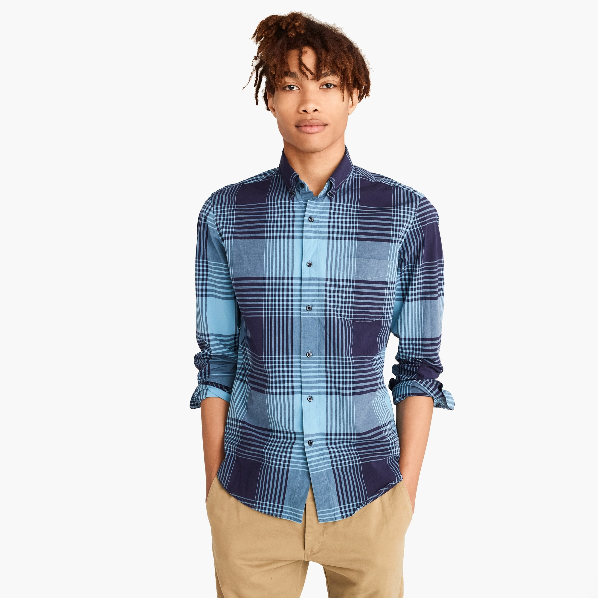 Stretch Secret Wash shirt in bold plaid men new arrivals c