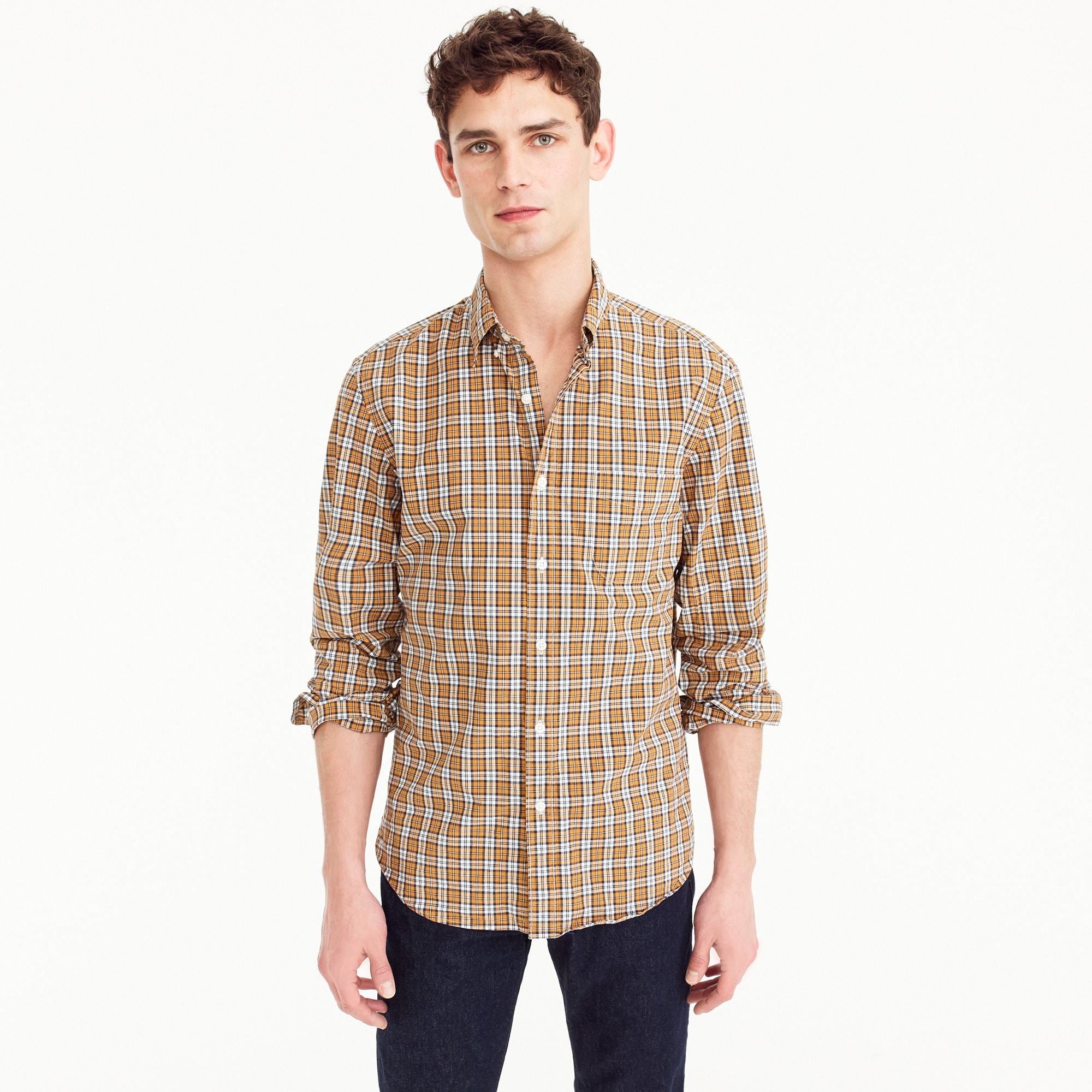 Stretch Secret Wash shirt in bronze plaid men new arrivals c
