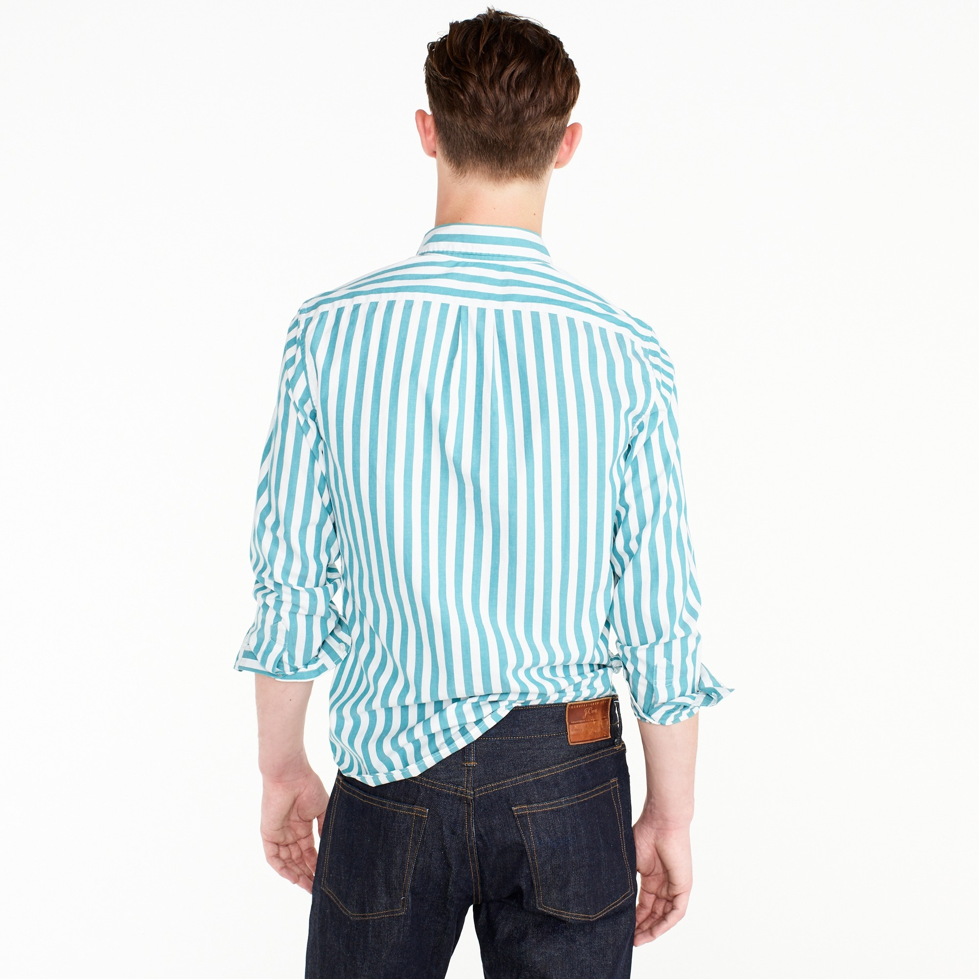 Image 3 for Slim stretch Secret Wash shirt in turquoise stripe