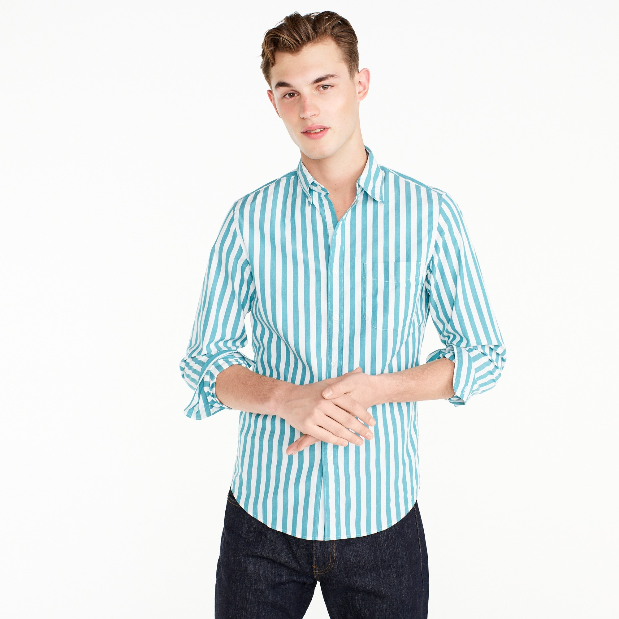 Image 1 for Slim stretch Secret Wash shirt in turquoise stripe