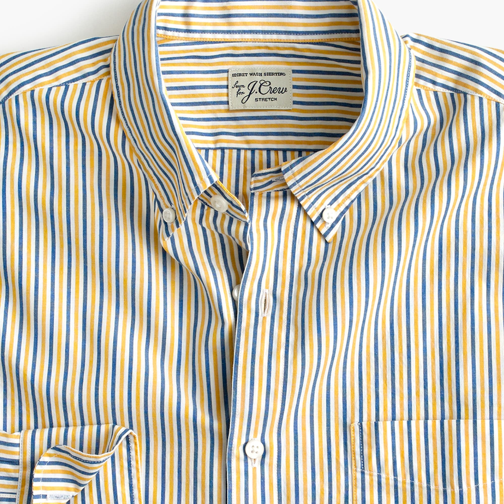 men's tall stretch secret wash shirt in yellow stripe - men's woven shirts