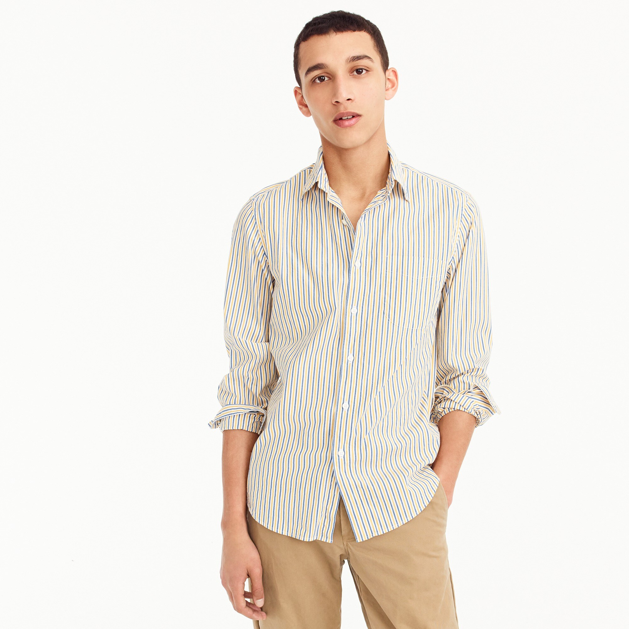 Tall stretch Secret Wash shirt in yellow stripe