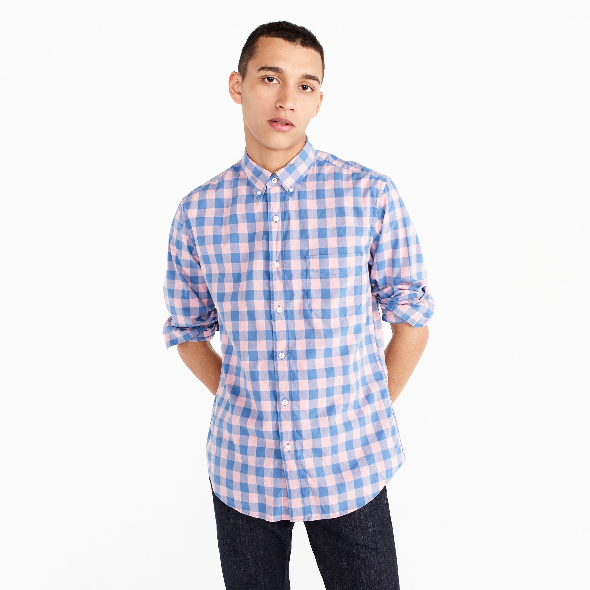 Stretch Secret Wash shirt in heather peony gingham men casual shirts c