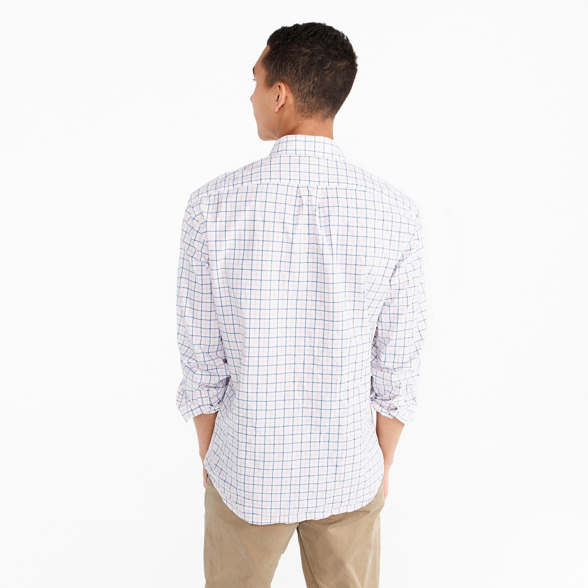 Tall stretch Secret Wash shirt in light pink check